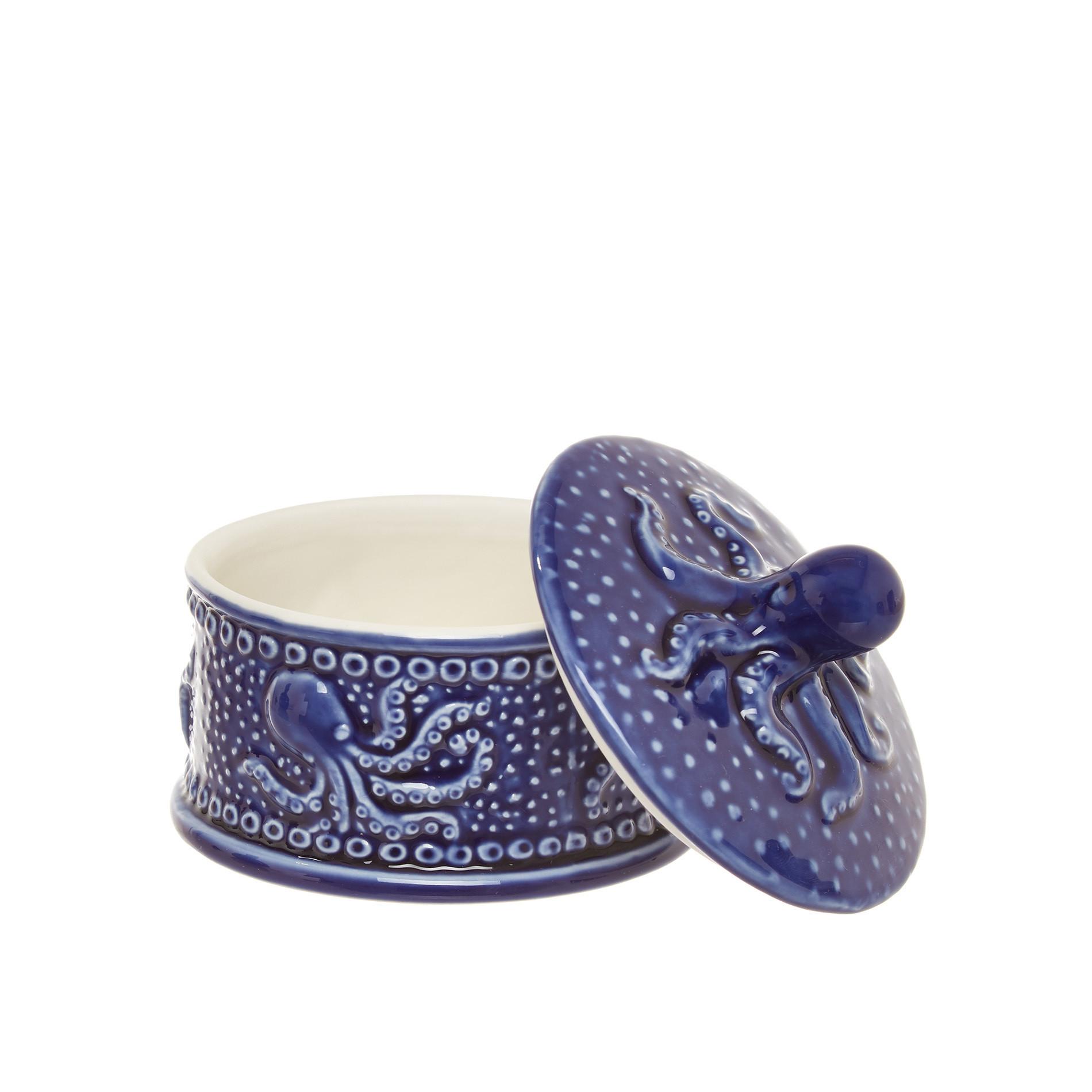 Barattolo porcellana decoro polipo, Blu, large image number 1