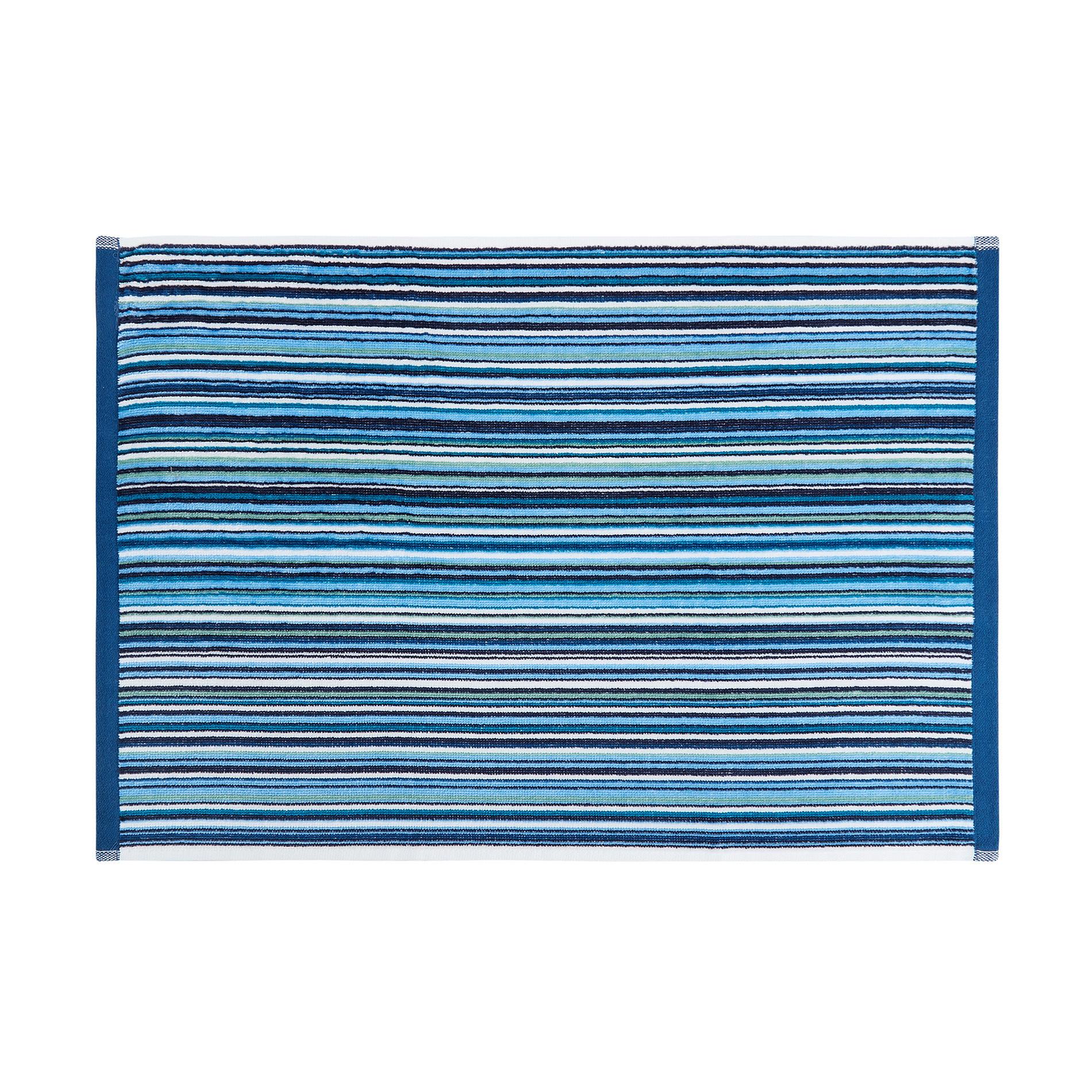 Asciugamano cotone velour fantasia a righe, Blu, large image number 2