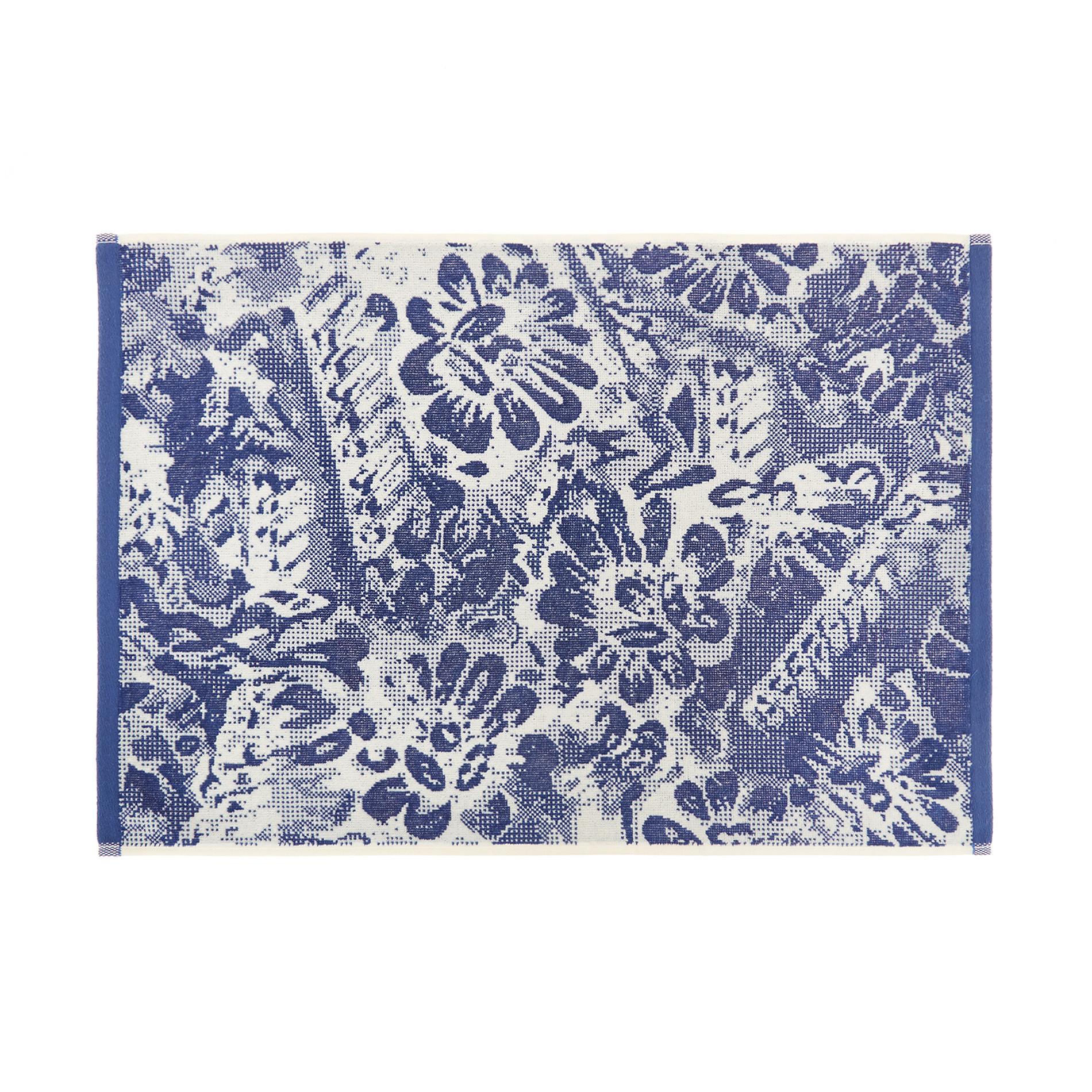 Asciugamano cotone velour motivo floreale, Blu, large image number 1
