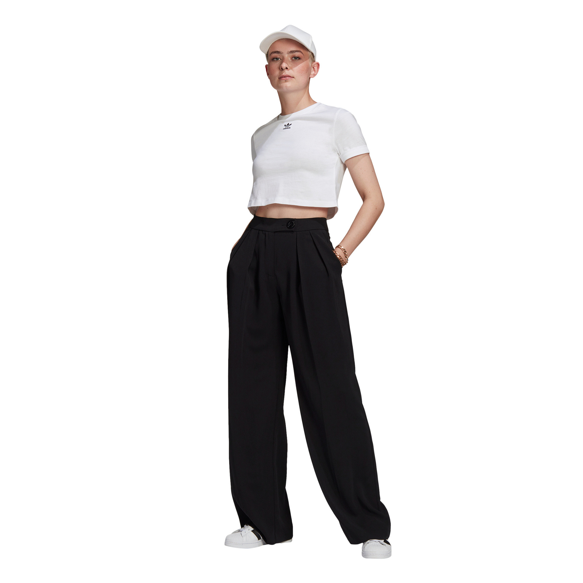 T-shirt adicolor Classics Roll-Up Sleeve Crop, Bianco, large image number 3