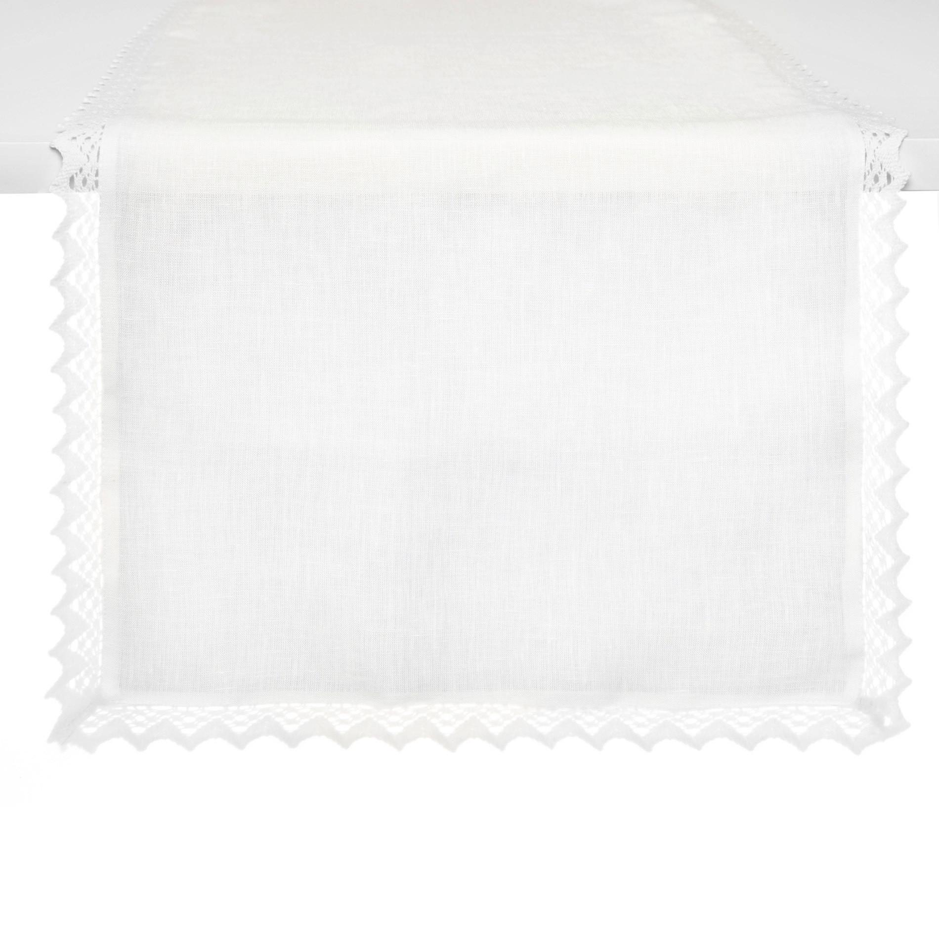 Runner puro lino bordo in pizzo, Bianco, large image number 0