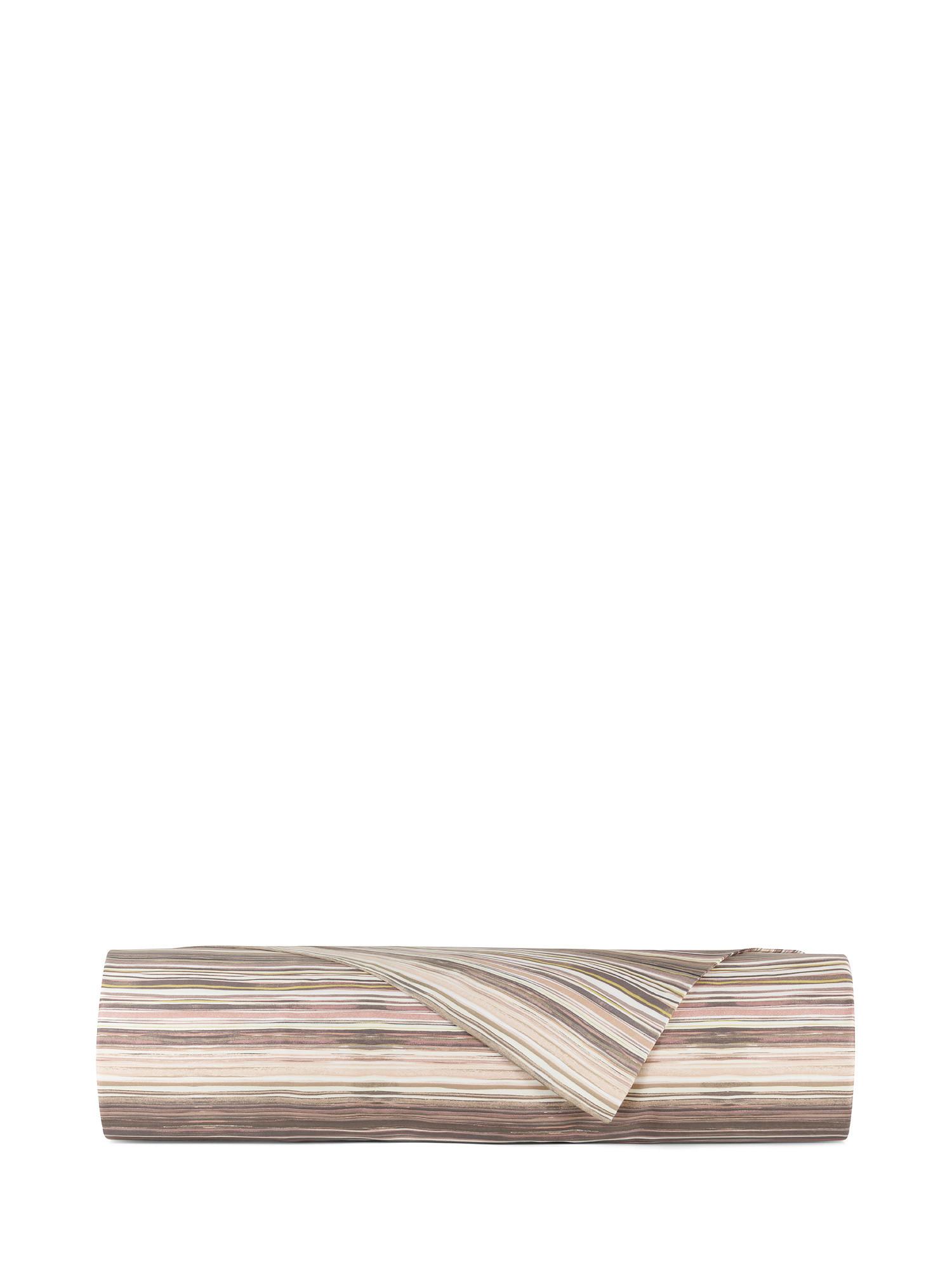 Lenzuolo liscio raso di cotone fantasia mille righe, Rosa, large image number 1