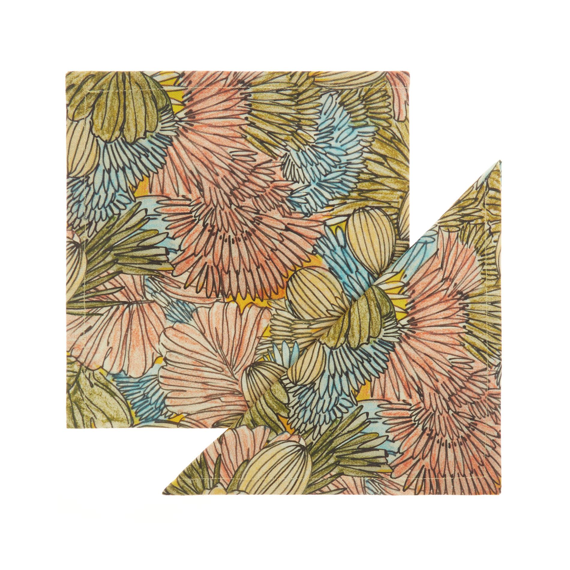Set 2 tovaglioli puro cotone organico stampa cactus, Multicolor, large image number 0