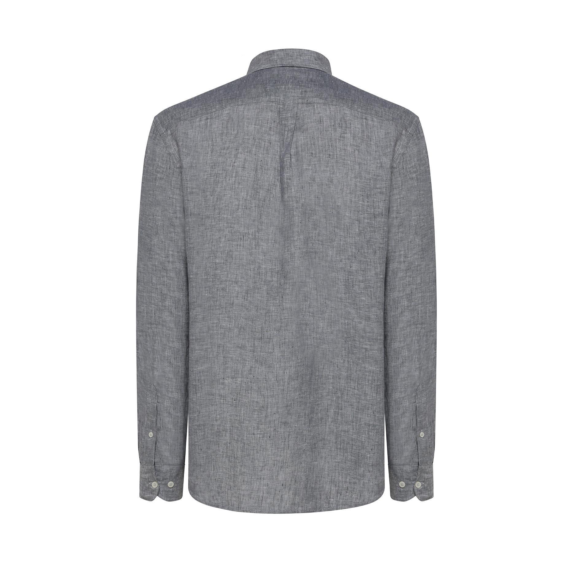 Camicia puro lino tailor fit Luca D'Altieri, Grigio, large image number 1