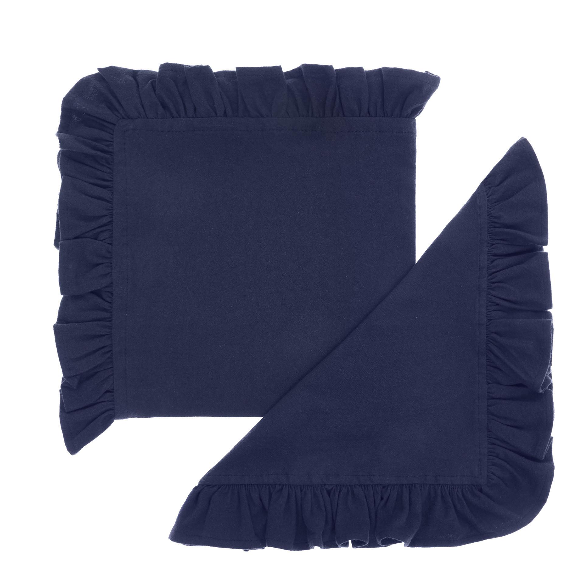 Set 2 tovaglioli puro cotone garment washed bordo volant, Blu scuro, large image number 0