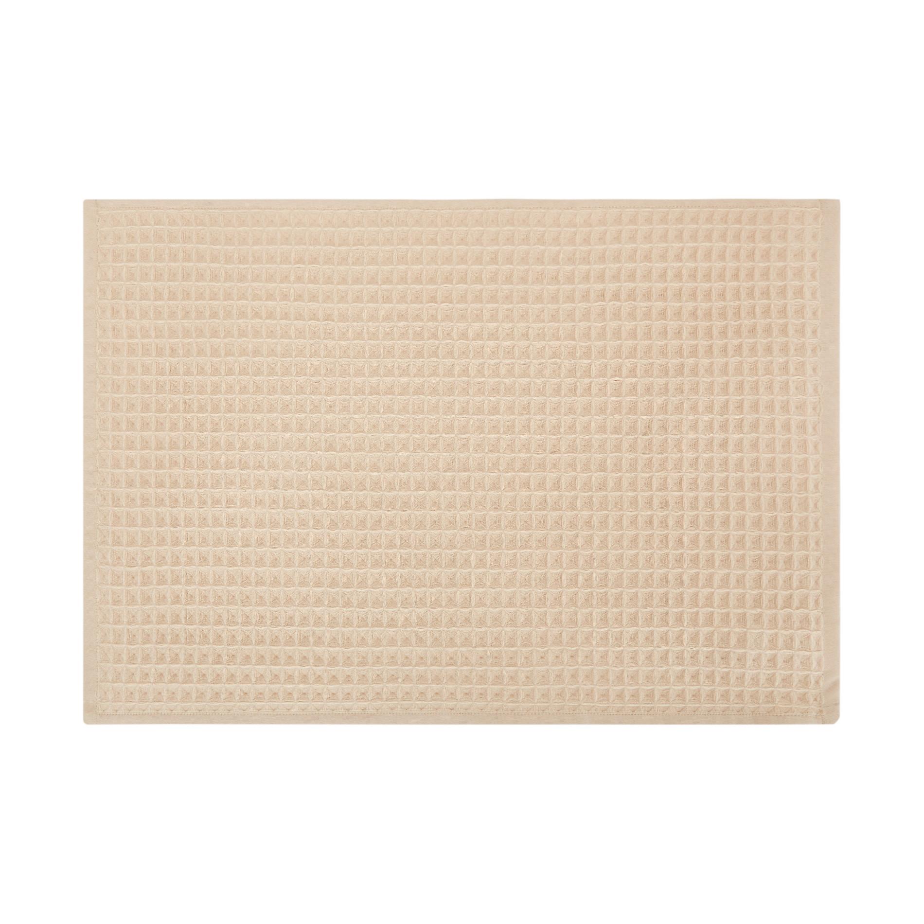 Set 2 asciugamani puro cotone nido d'ape tinta unita, Beige, large image number 1
