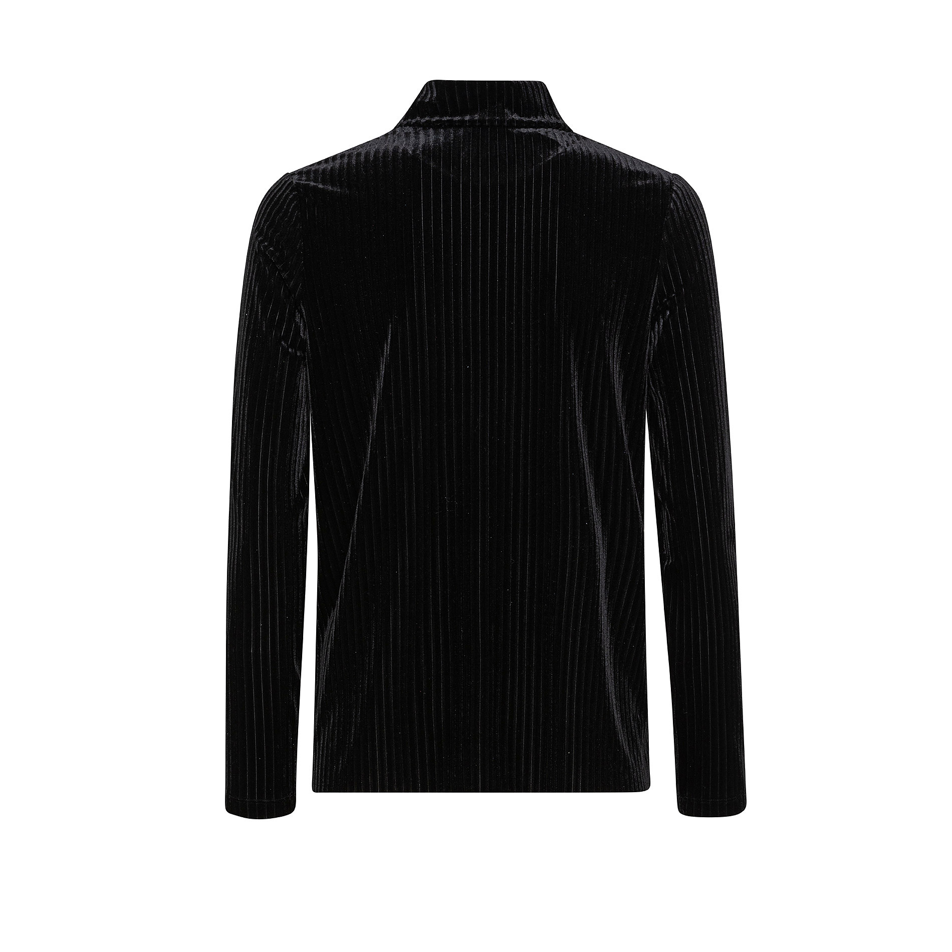 T-shirt collo alto in ciniglia, Nero, large image number 1