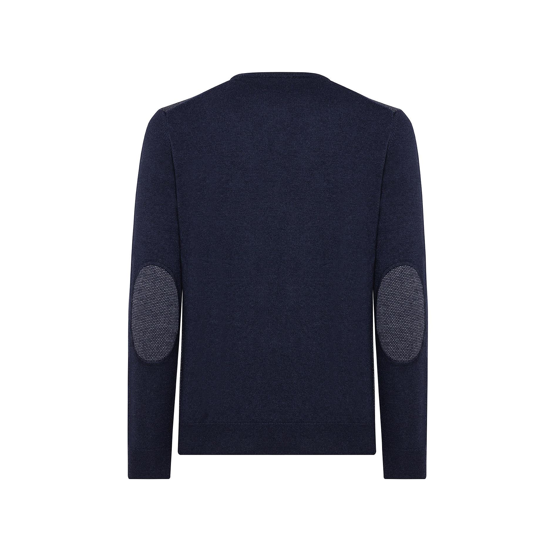 Pullover girocollo misto lana motivo piquet, Blu, large image number 1