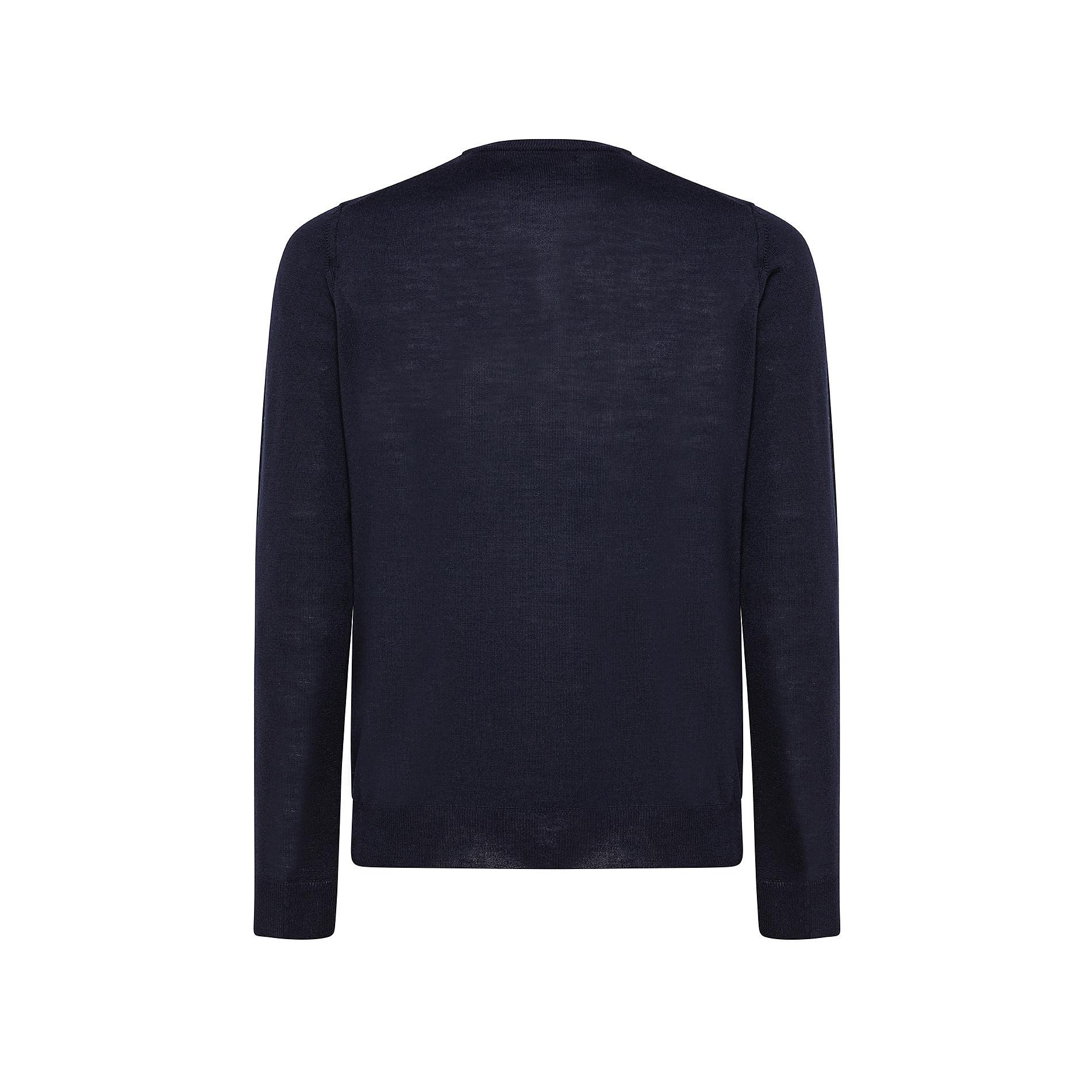 Pullover girocollo lana merinos extrafine, Blu, large image number 1