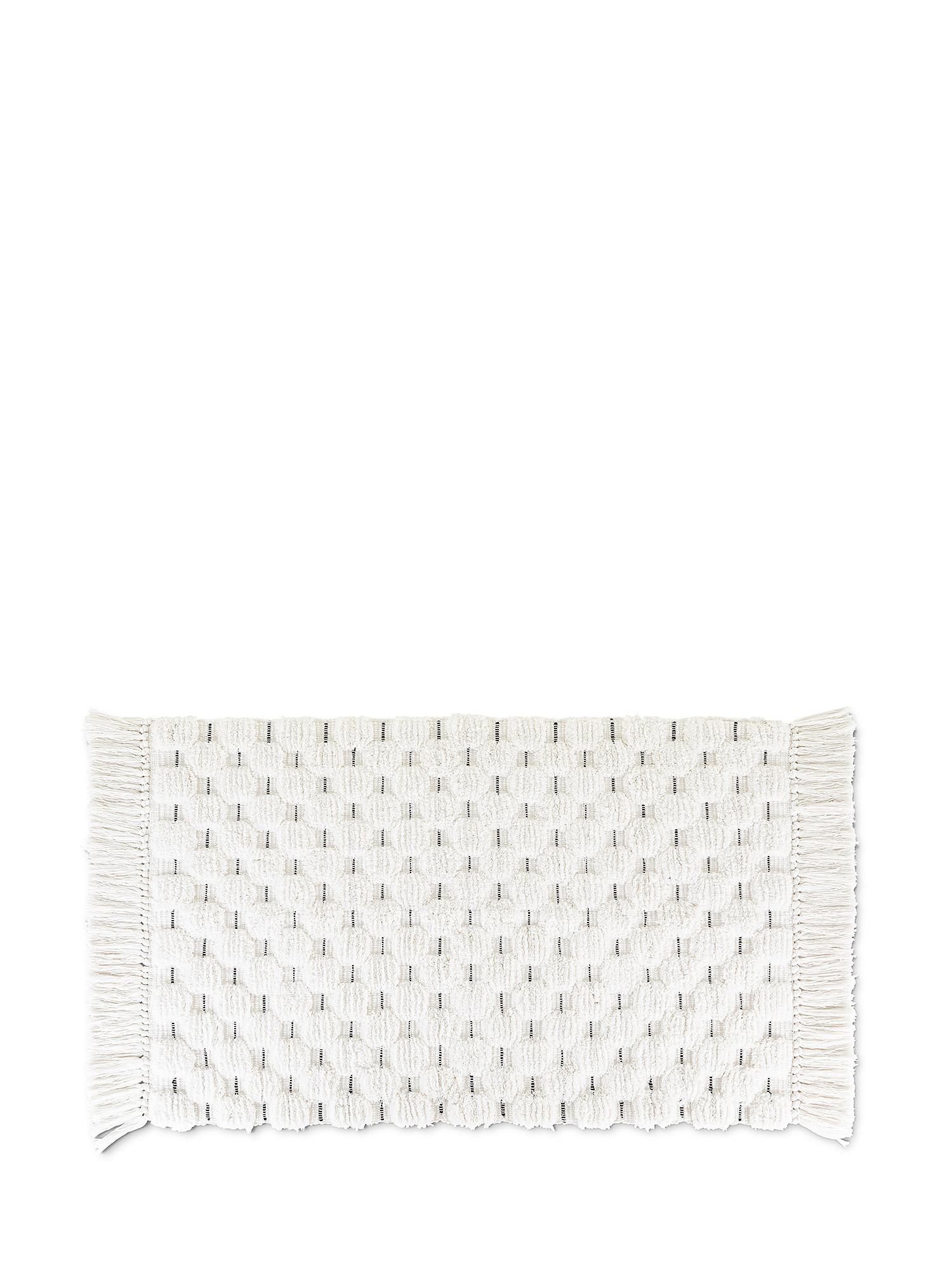 Tappeto bagno spugna di cotone con impunture, Bianco, large image number 0