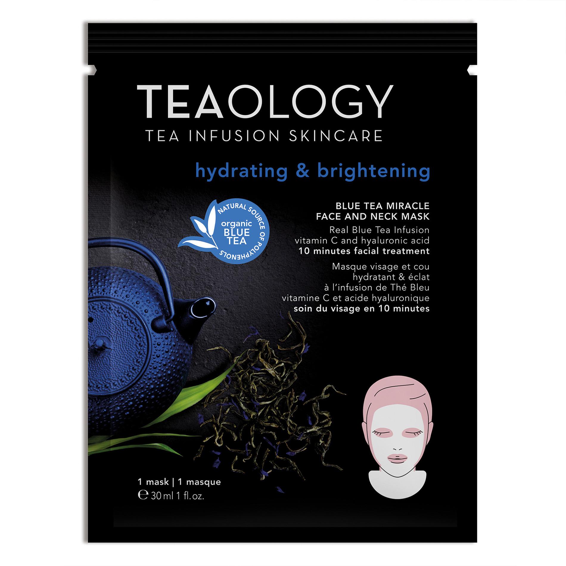 Blue Tea Miracle Face and Neck Mask Idratante e Illuminante 30 ml, Nero, large image number 0
