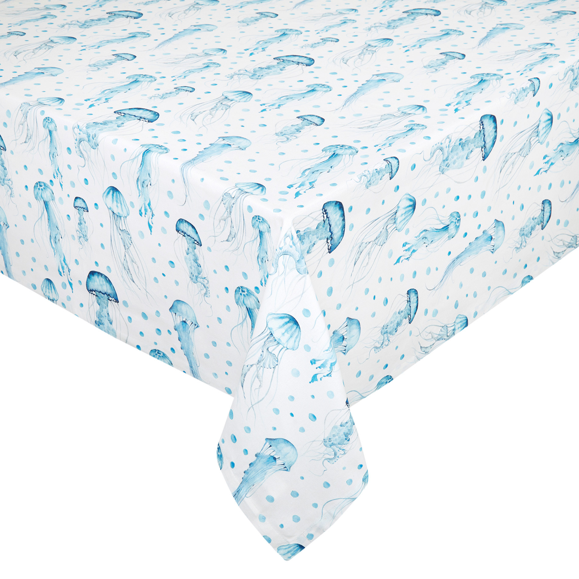 Tovaglia puro cotone organico idrorepellente stampa meduse, Bianco, large image number 0