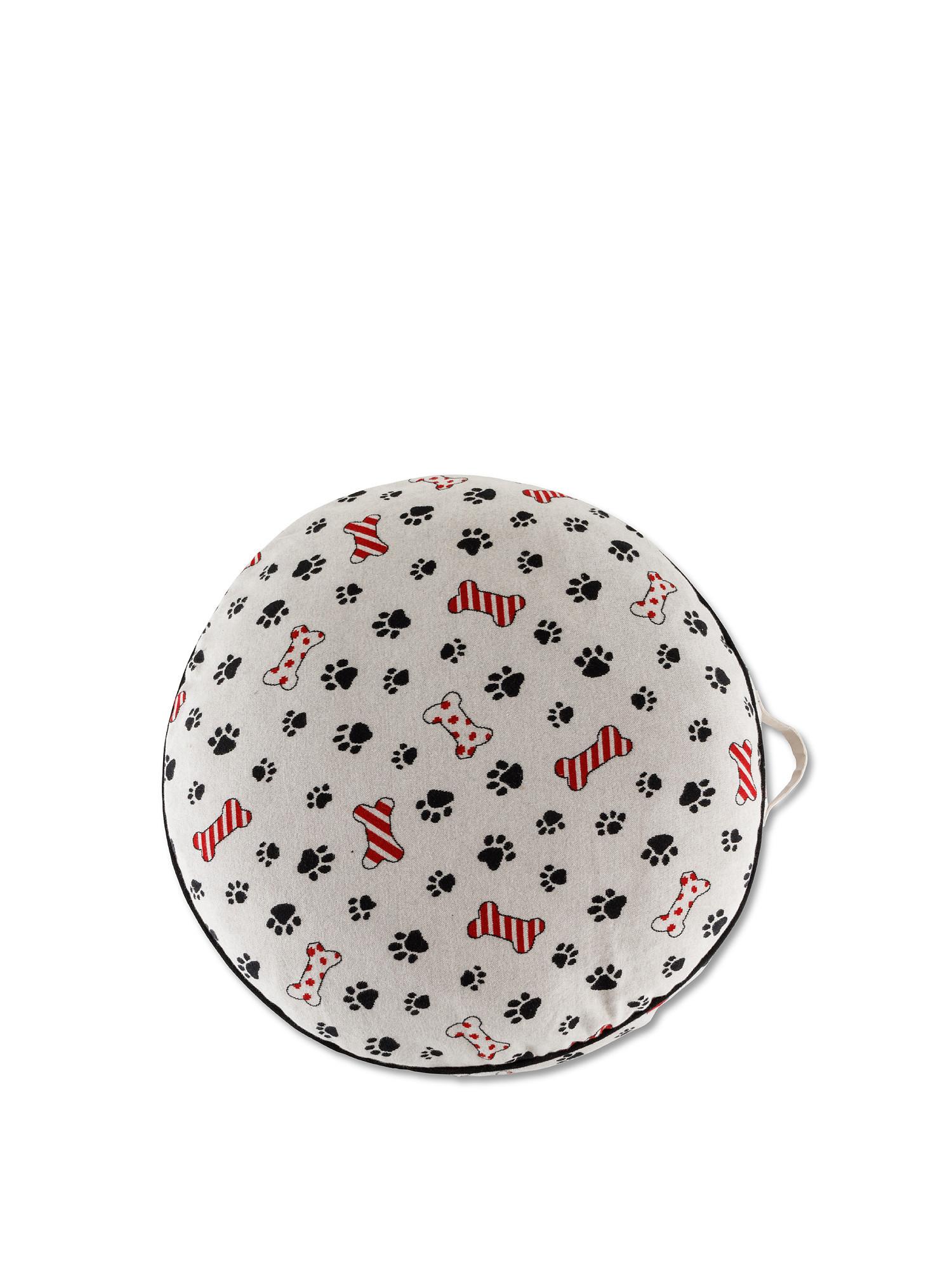 Cuscino cuccia motivo zampette, Beige chiaro, large image number 1