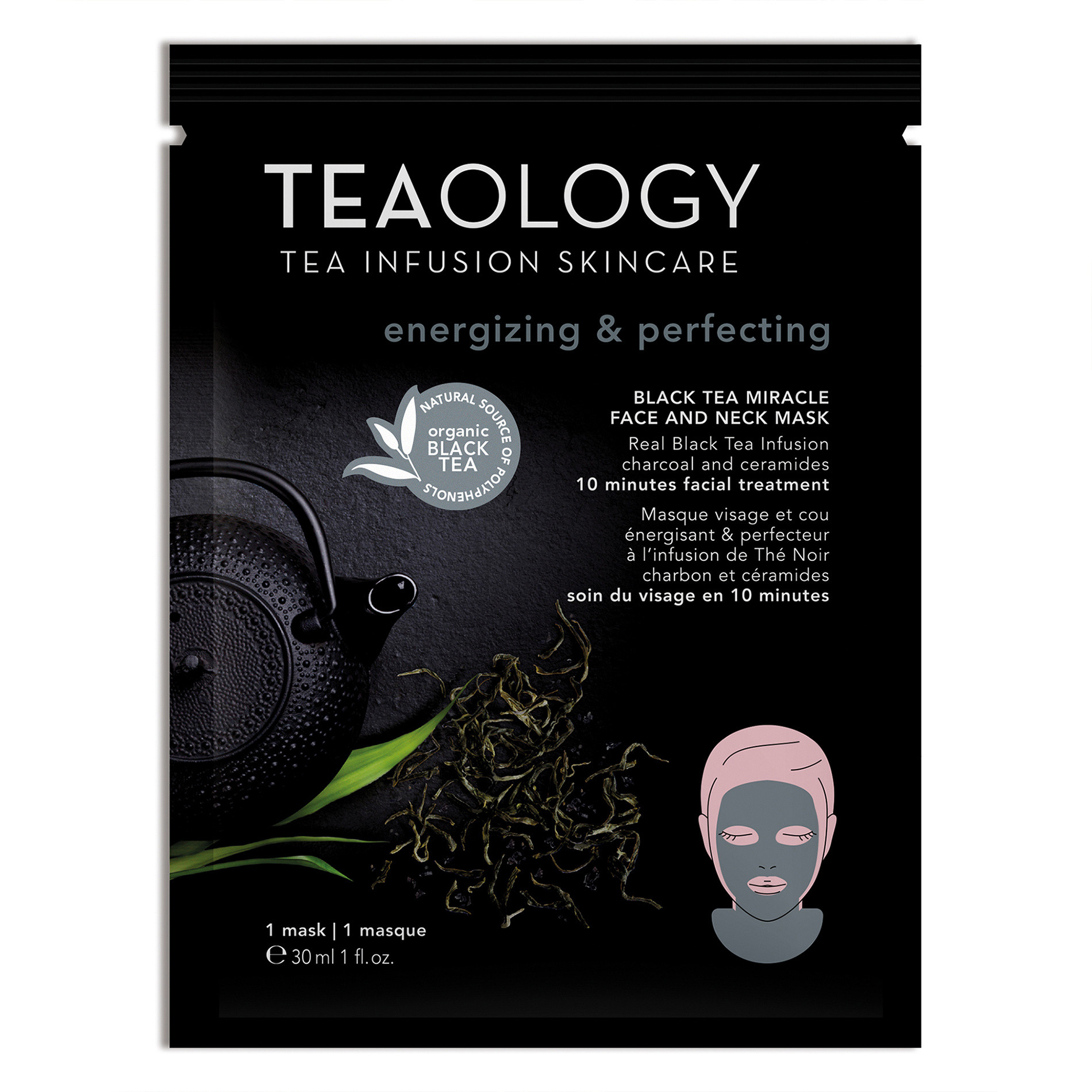 Teaology Black Tea Miracle Face and Neck Mask Energizzante e Perfezionatrice 30 ml, Nero, large image number 0