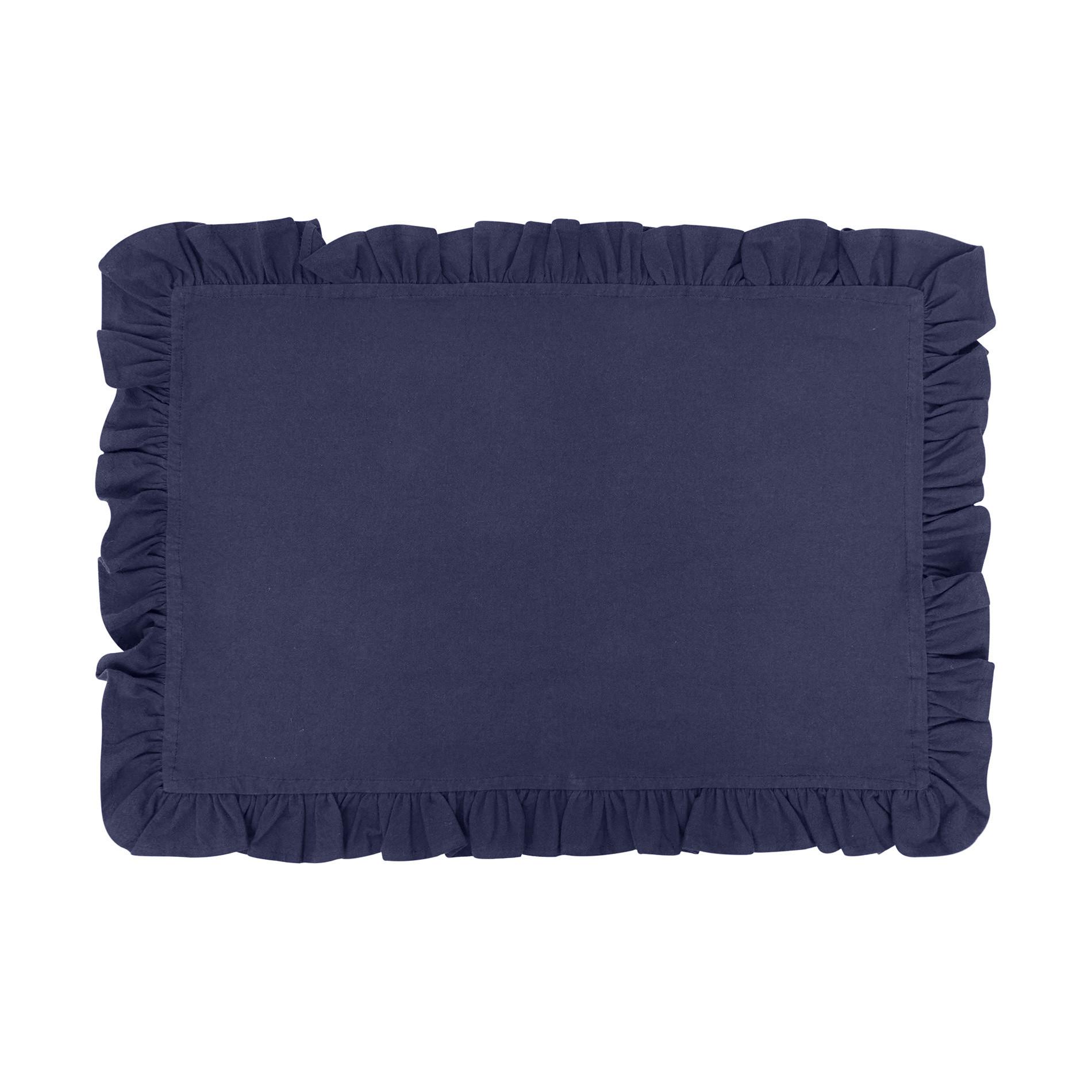 Tovaglietta puro cotone garment washed bordo volant, Blu scuro, large image number 0