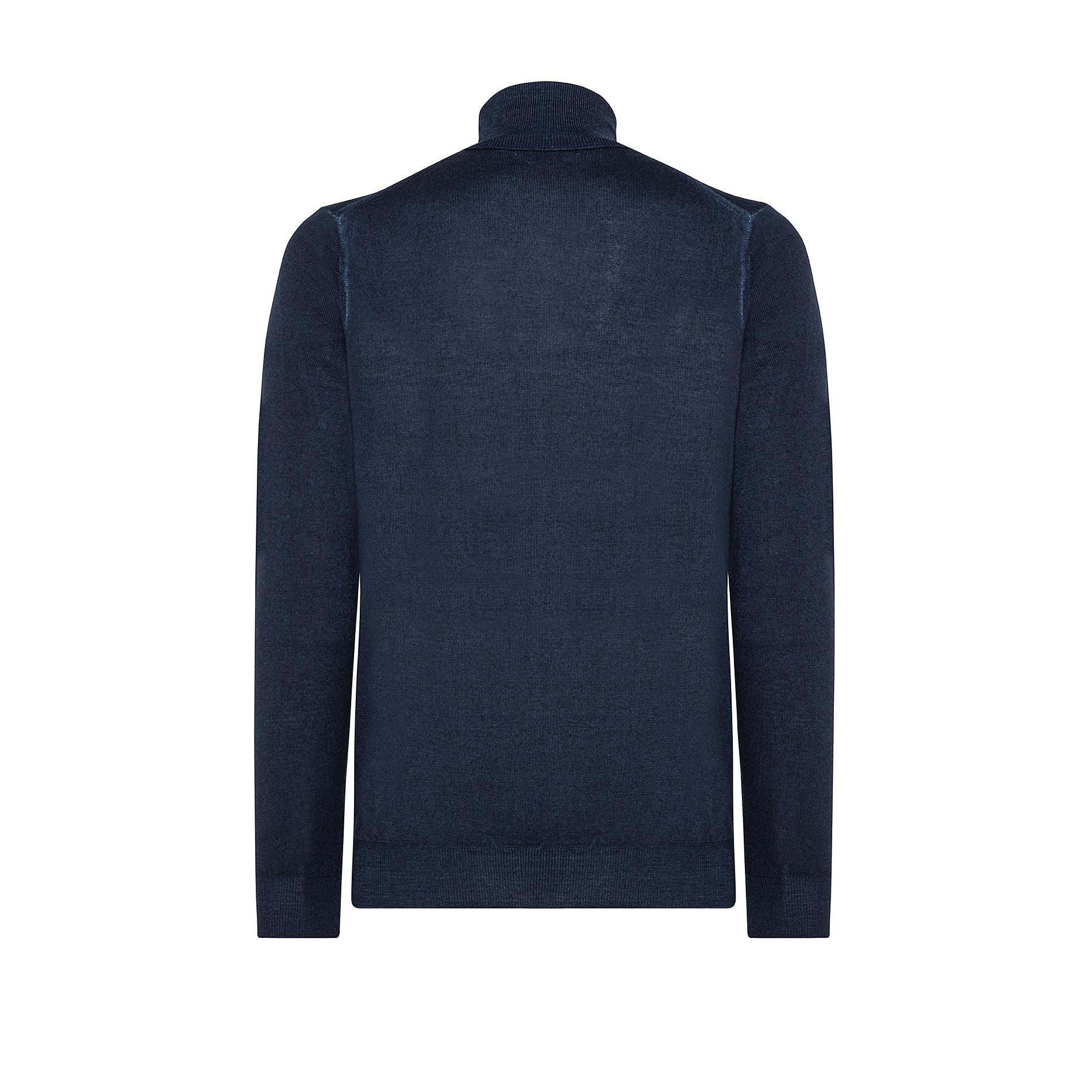 Pullover lana merinos collo alto, Blu, large image number 1
