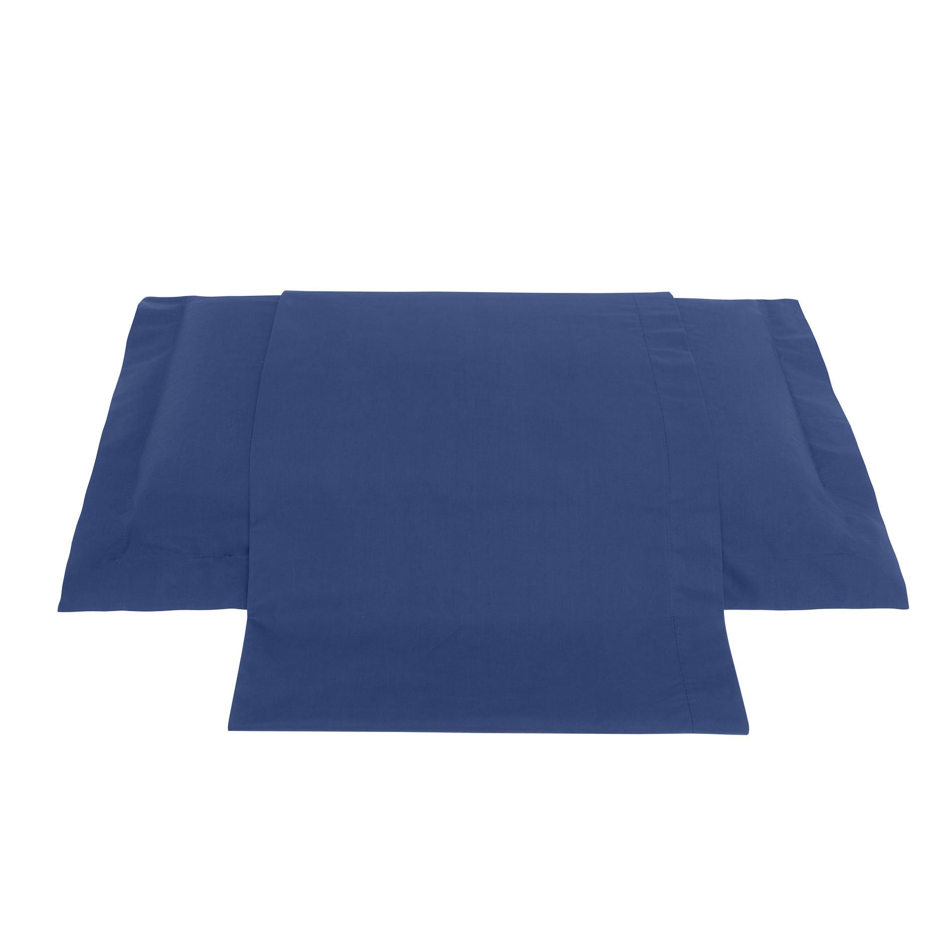 Lenzuolo liscio in percalle tinta unita Zefiro, Blu, large image number 0