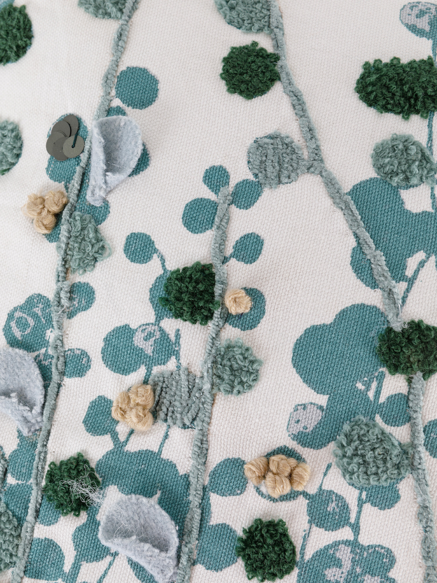 Cuscino cotone ricamo eucalipto 45x45cm, Multicolor, large image number 2