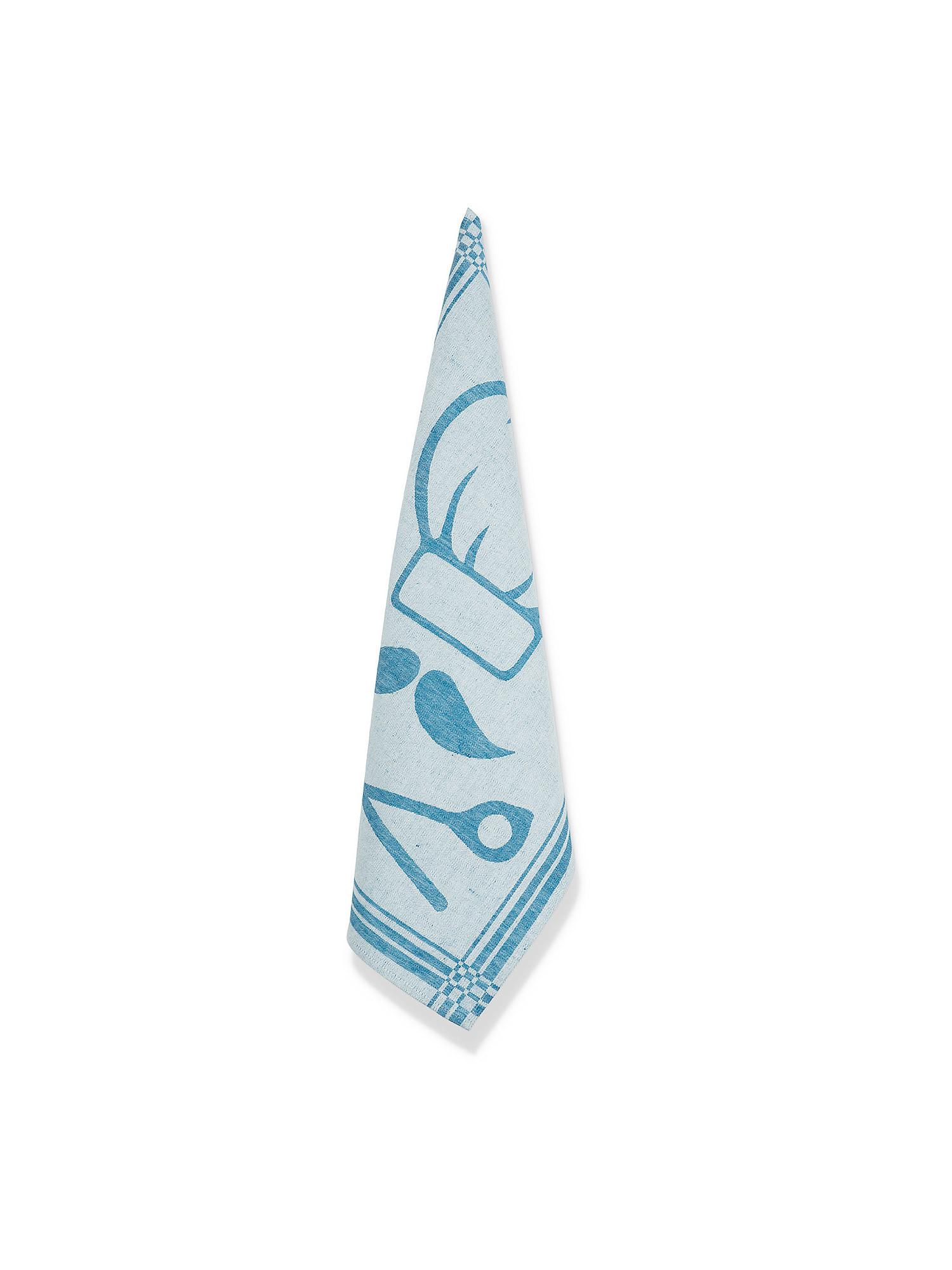 Strofinaccio cotone e lino motivo chef, Azzurro, large image number 0