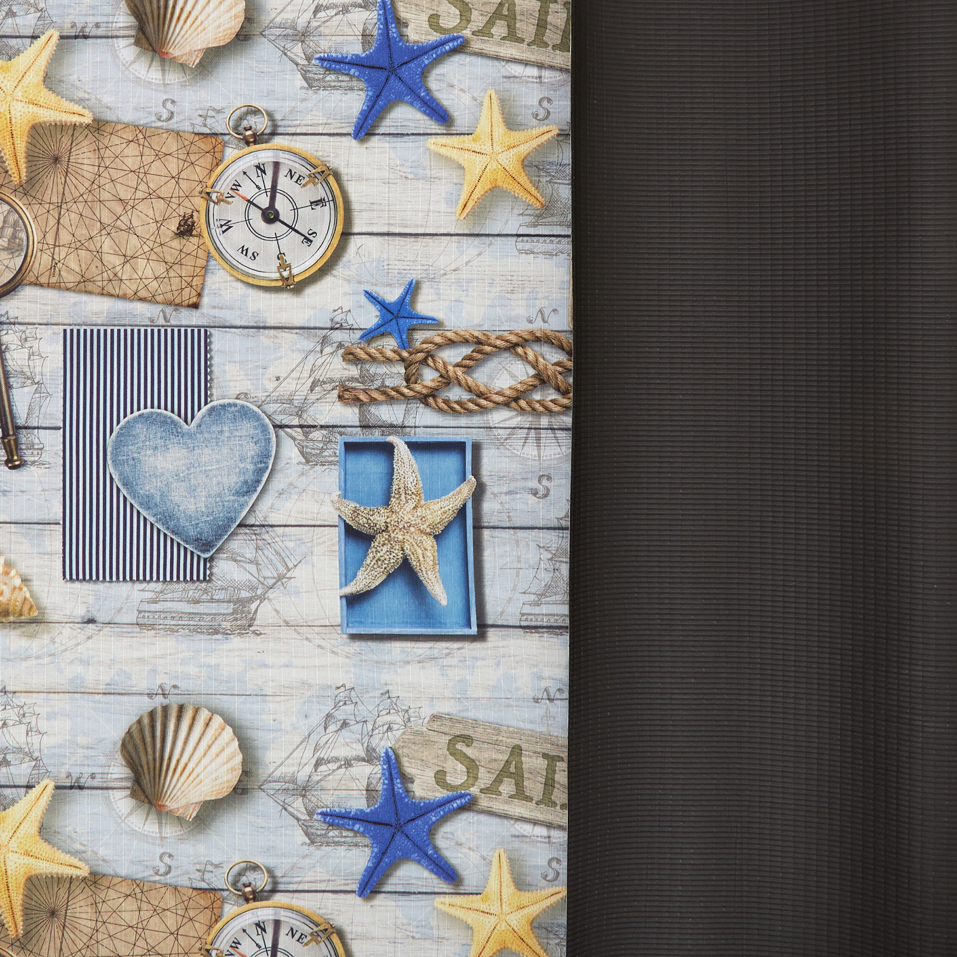 Tappeto da esterno PVC stampa marina, Azzurro, large image number 1