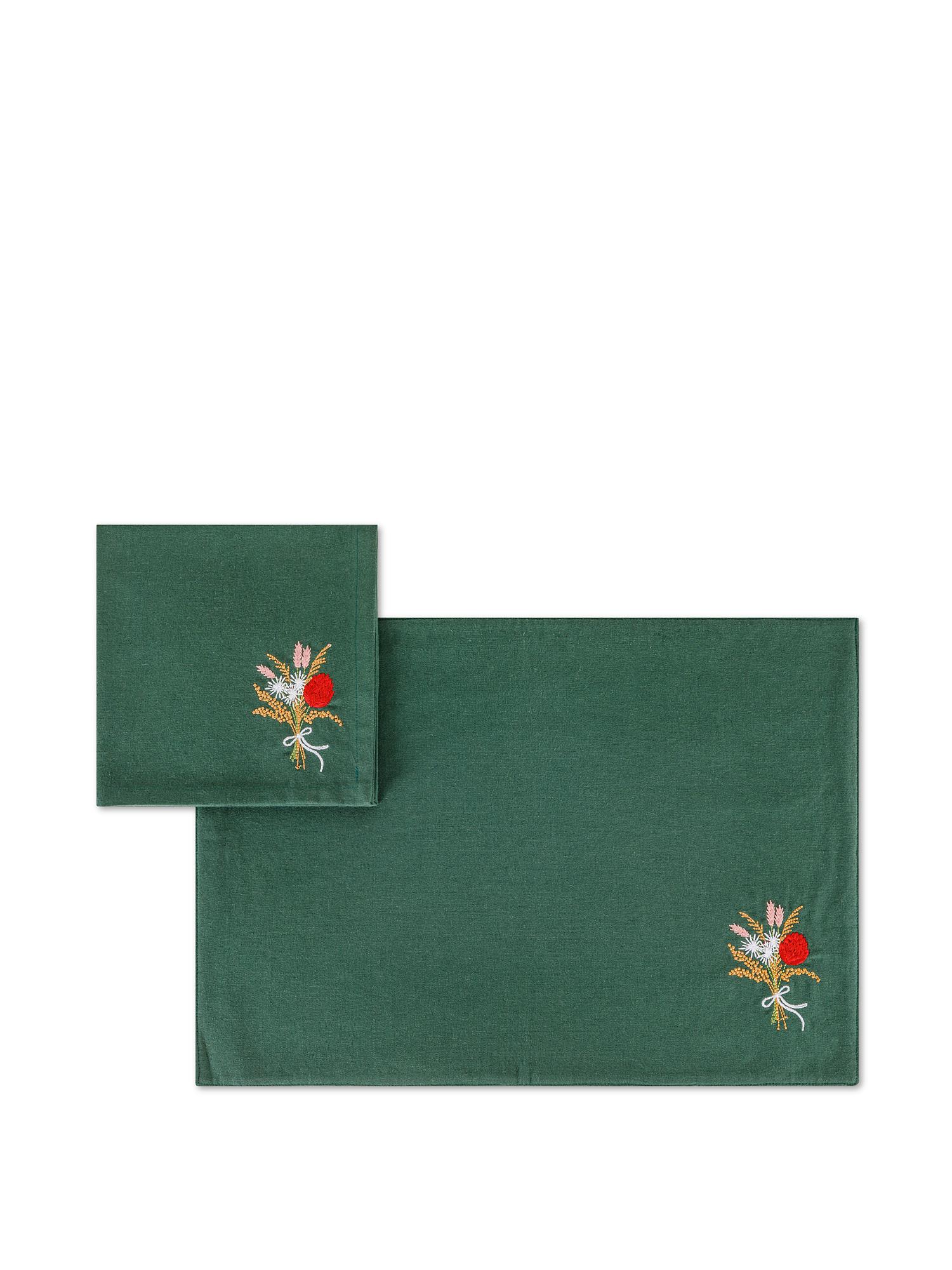 Set tovaglietta e tovagliolo puro cotone ricamo fiore, Verde, large image number 0