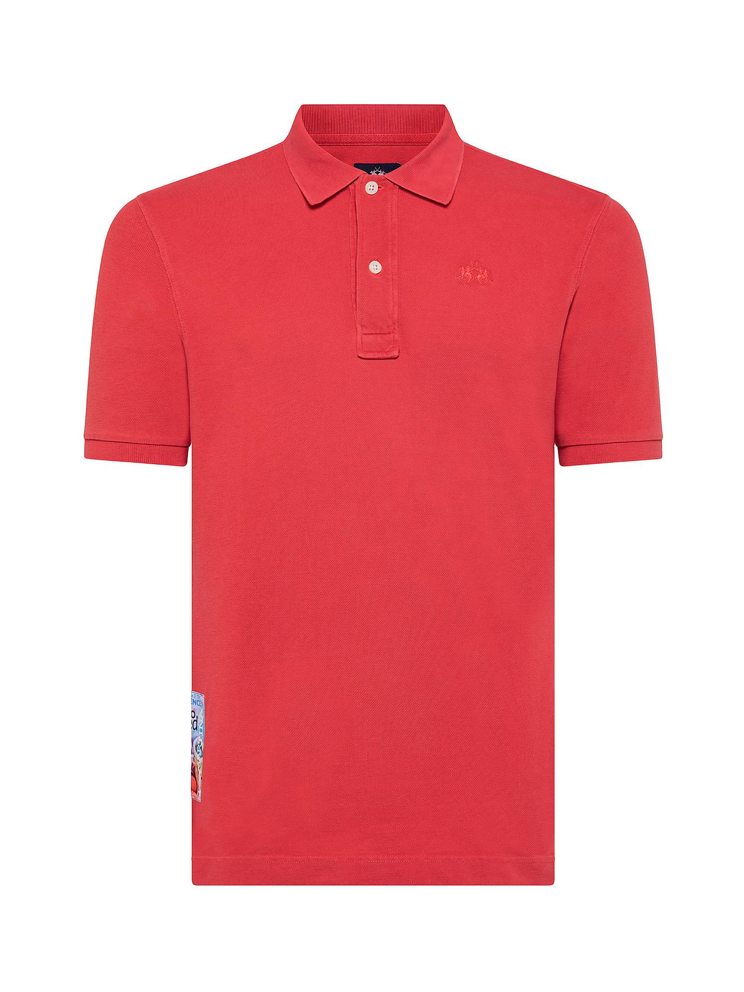 Polo da uomo a maniche corte in cotone regular fit, Rosso mattone, large image number 0