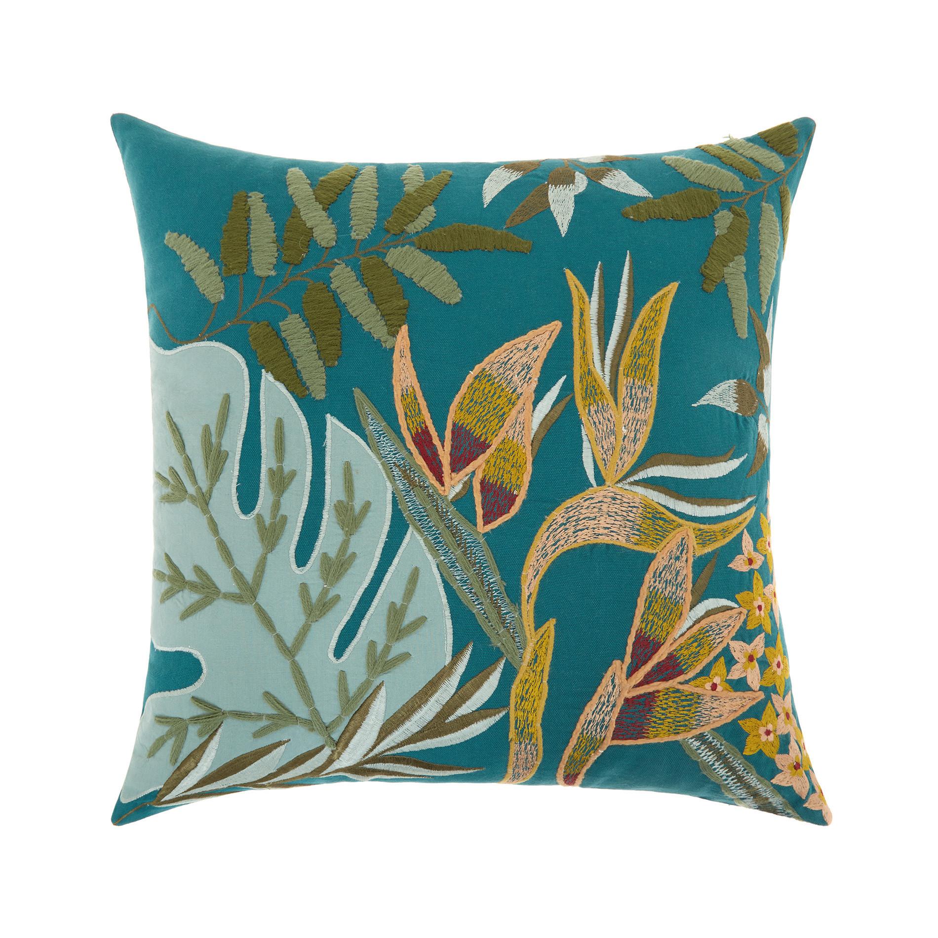 Cuscino ricamo foglie 45x45cm, Verde smeraldo, large image number 0