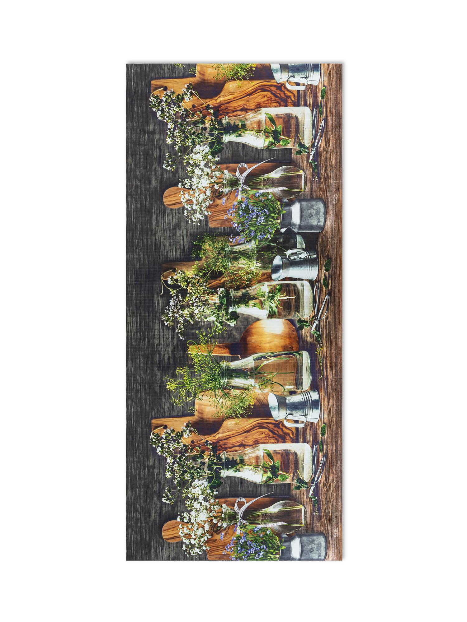 Tappeto da cucina PVC stampa vasetti, Marrone, large image number 0