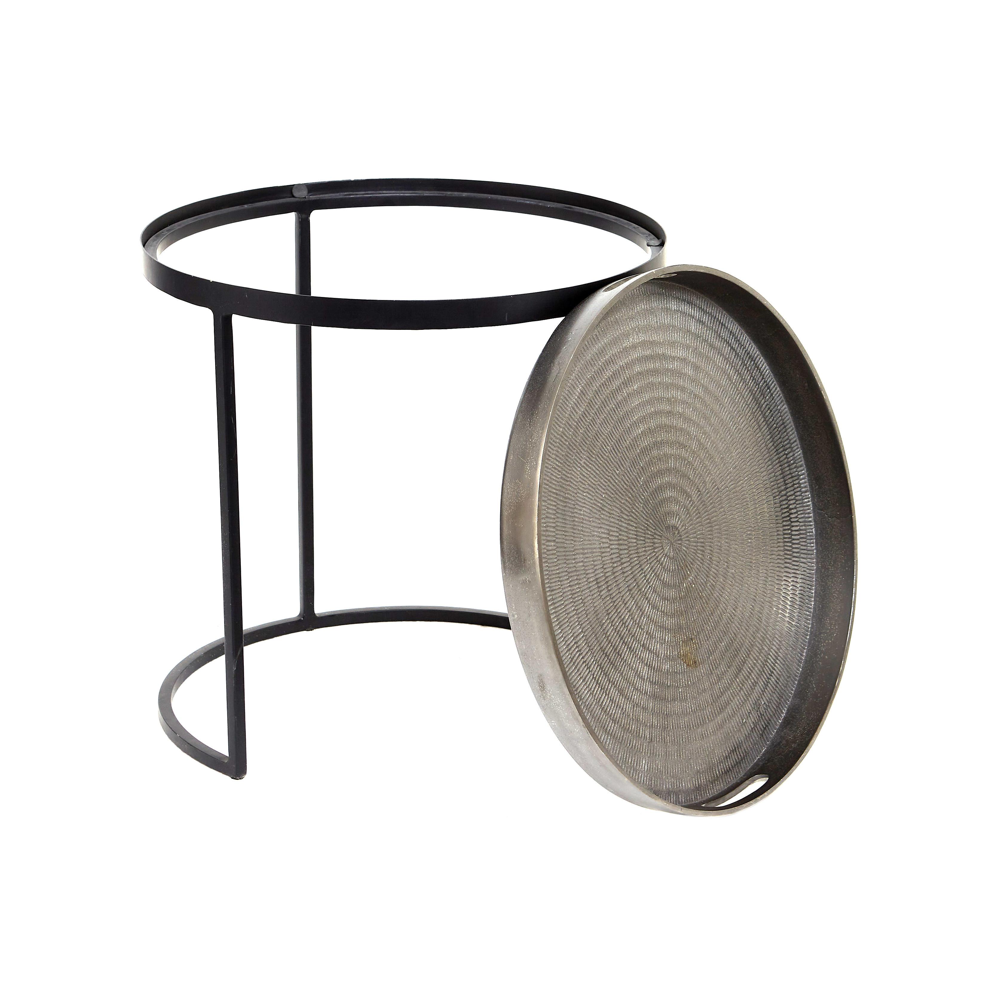 Tavolino rotondo in ferro Goa, Grigio argento, large image number 1