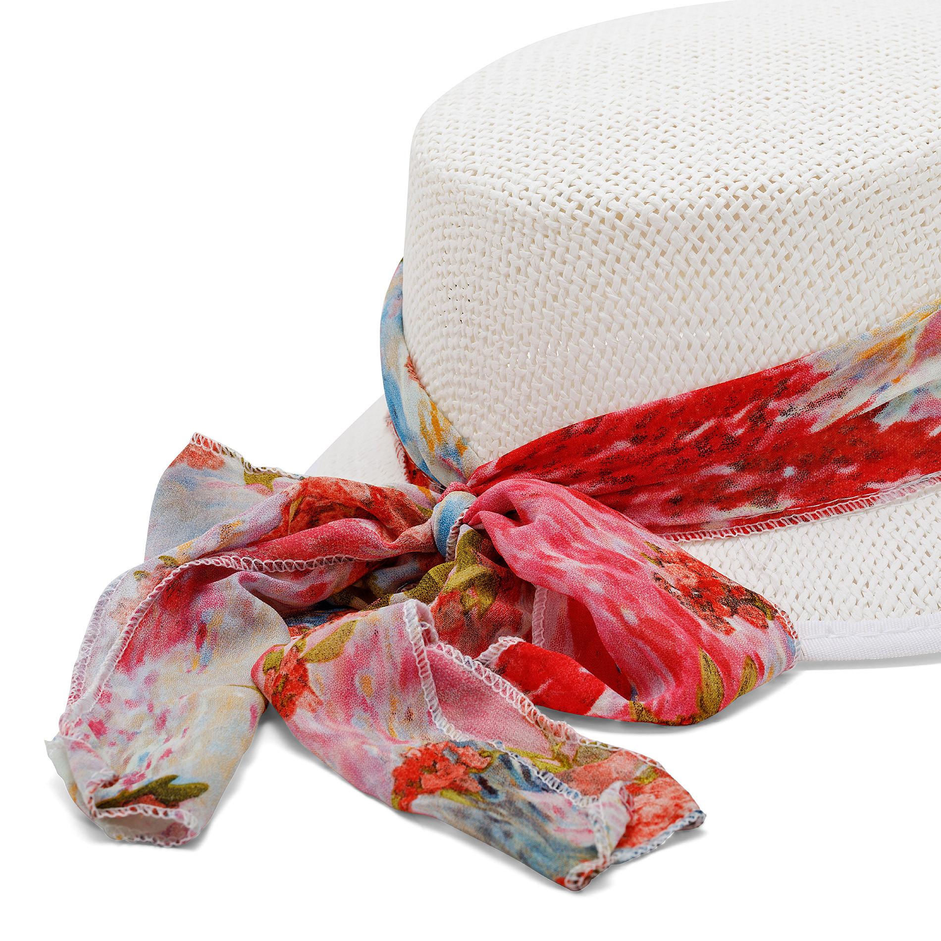 Cappello di paglia con foulard fantasia Koan, Bianco, large image number 1