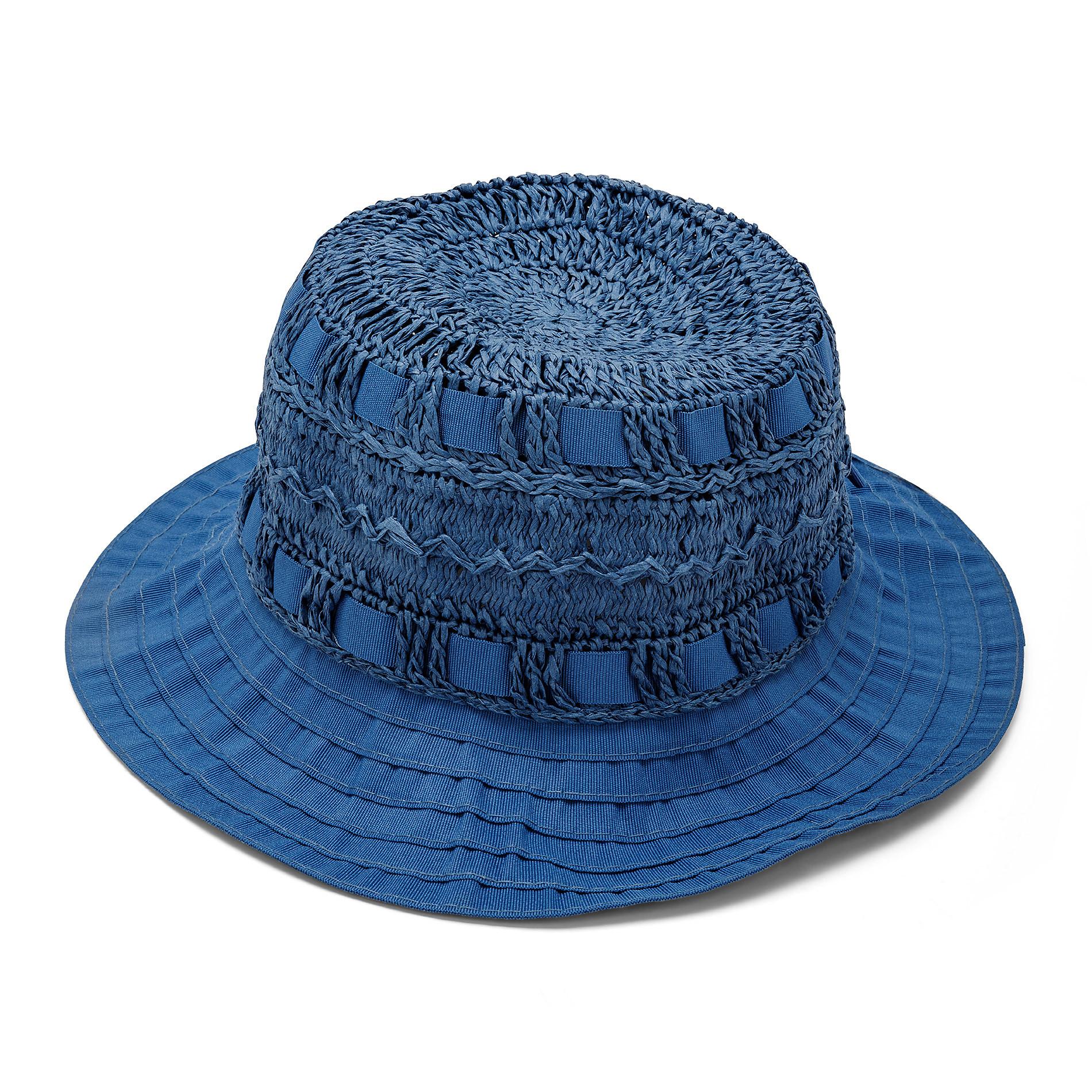 Capello di paglia con merletto Koan, Blu, large image number 0