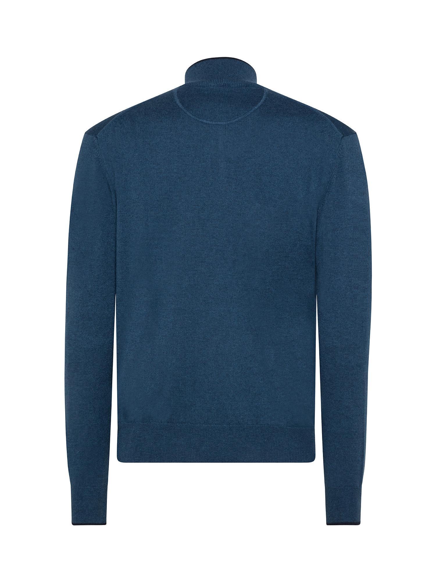 Maglia uomo a maniche lunghe in cotone misto lana, Blu, large image number 1