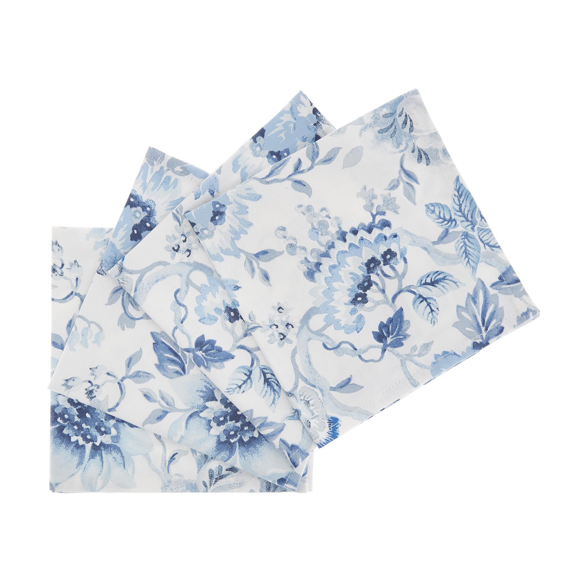 Set 4 tovaglioli puro cotone stampa floreale, Bianco, large image number 0