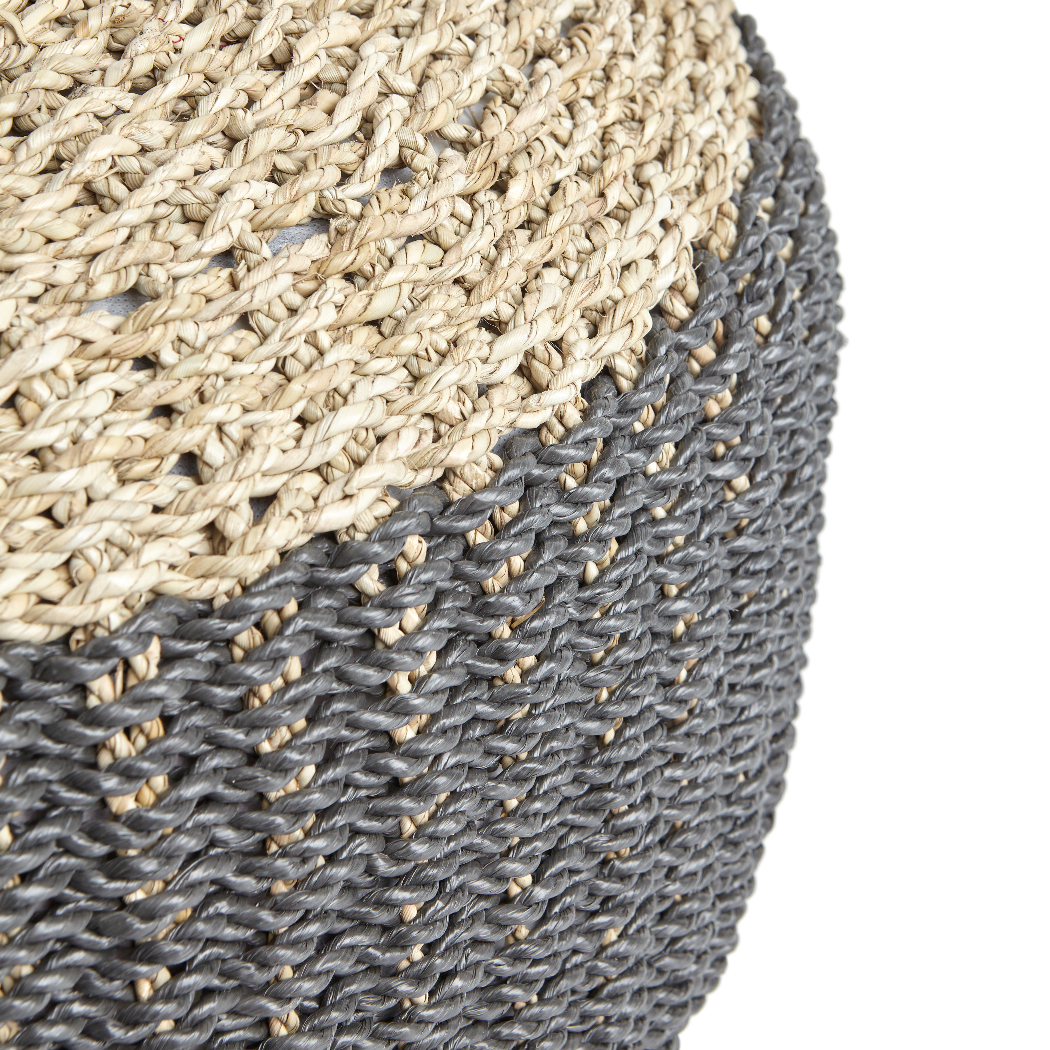 Pouf in seagrass Freya, Beige, large image number 1