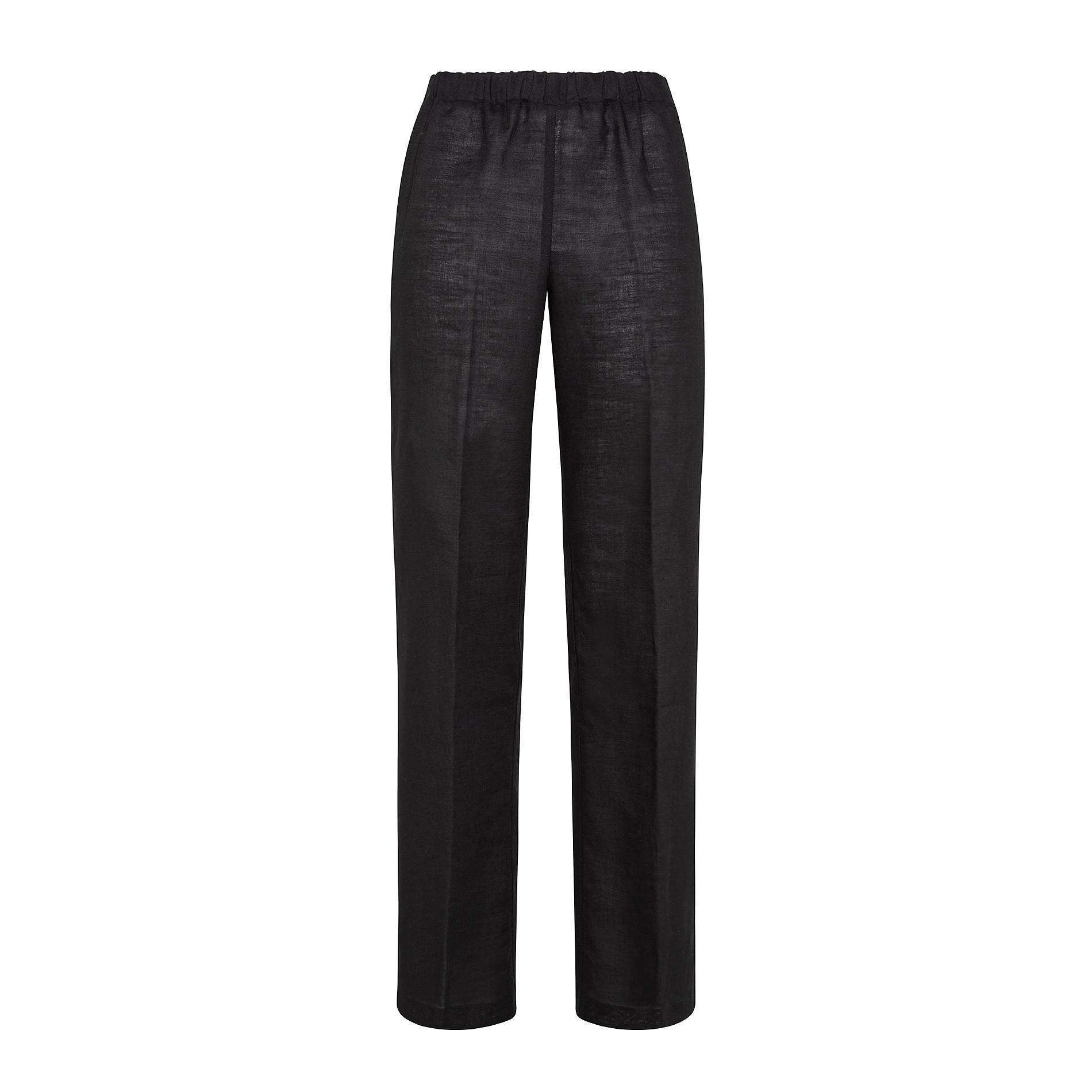 Pantalone misto lino con elastico Koan, Nero, large image number 0