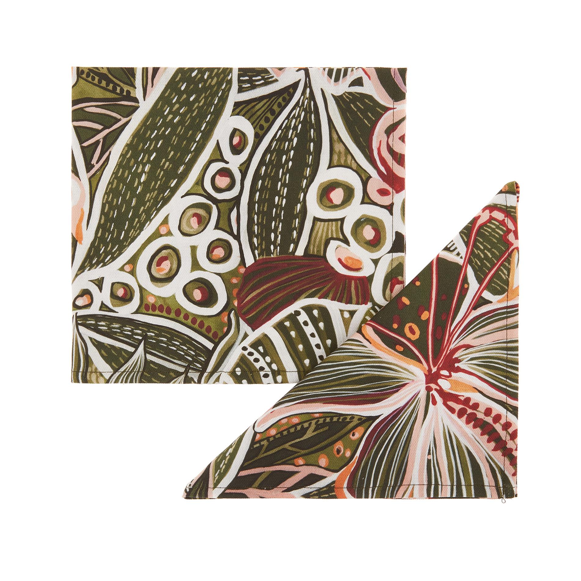 Set 2 tovaglioli puro cotone stampa amazzonia, Verde scuro, large image number 0