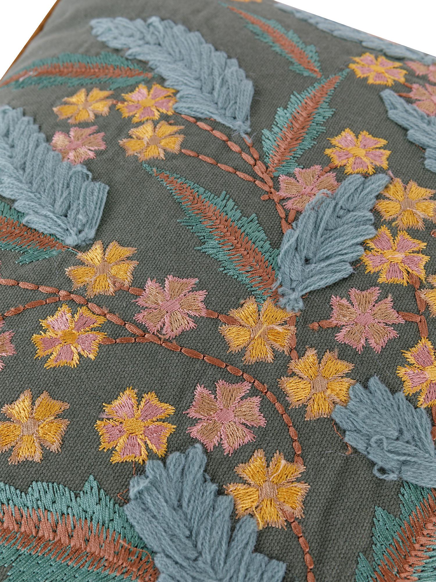 Cuscino cotone ricamo bouquet 45x45cm, Multicolor, large image number 2