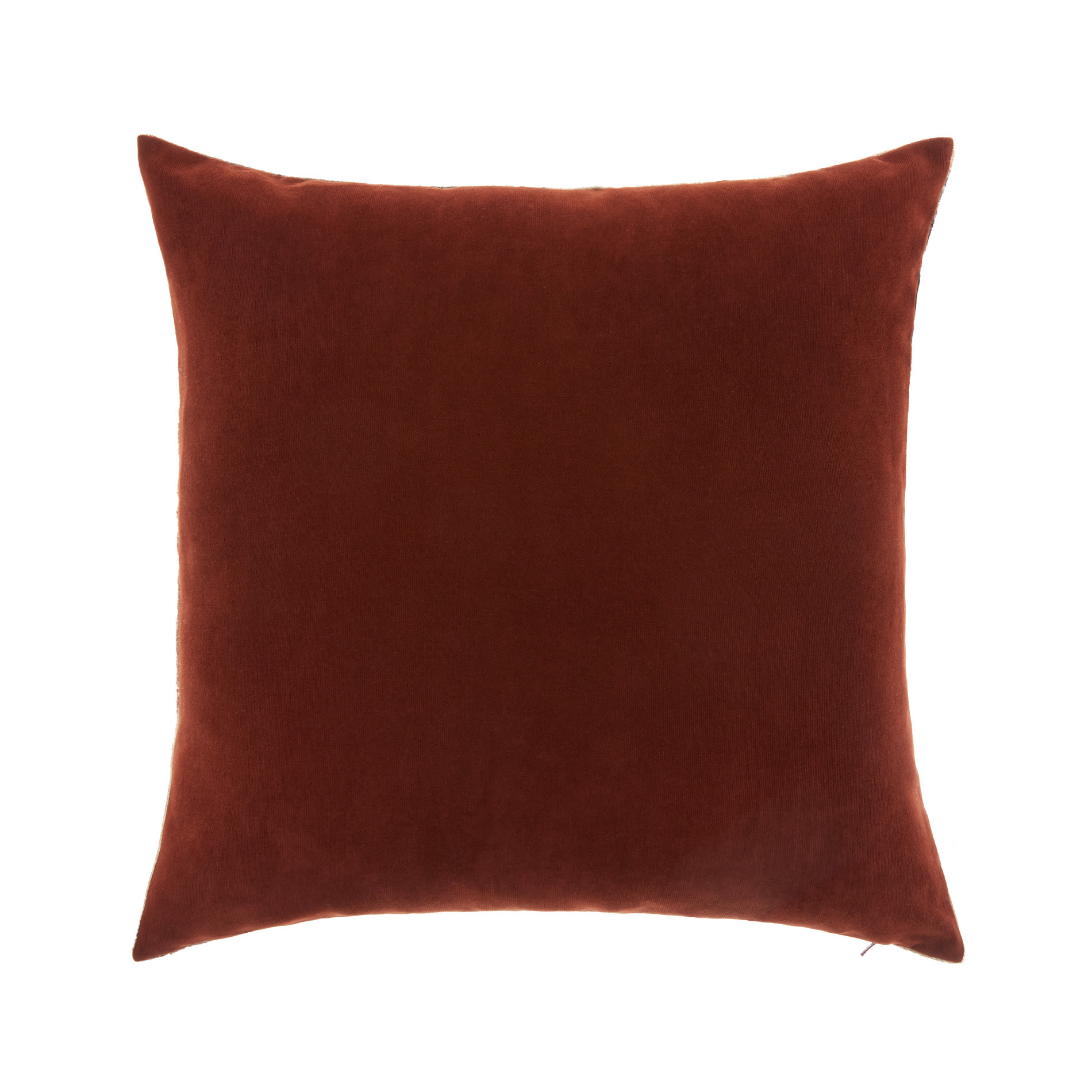 Cuscino velluto motivo geometrico 45x45cm, Marrone, large image number 1