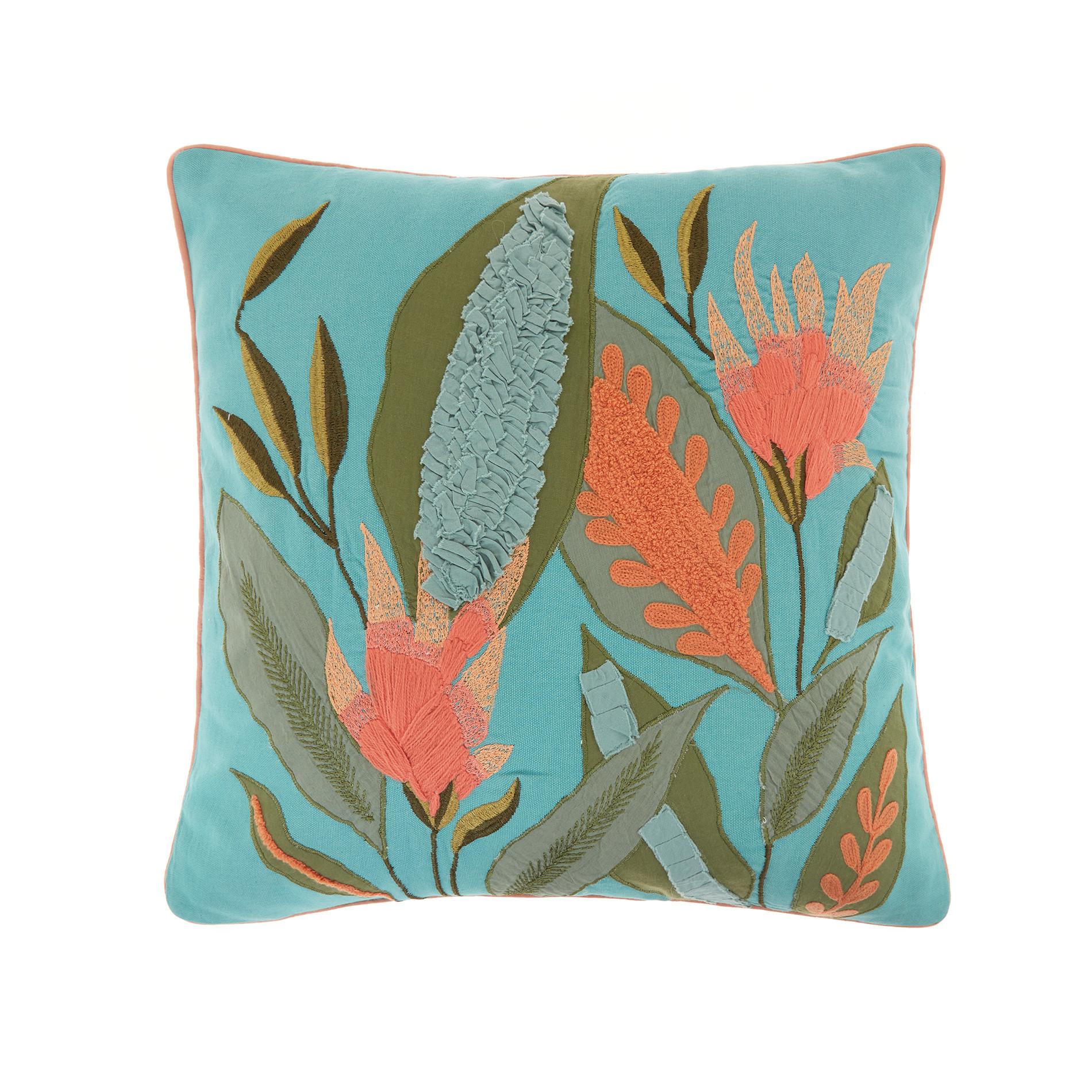 Cuscino ricamo foglie 45x45cm, Verde acqua, large image number 0