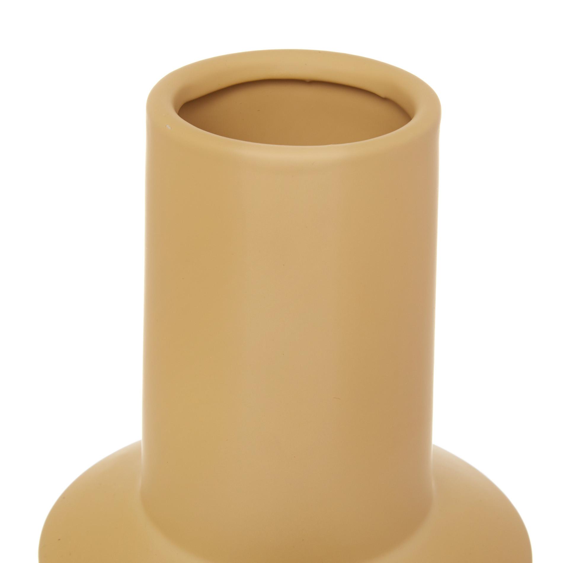 Vaso ceramica con anelli, Giallo ocra, large image number 1