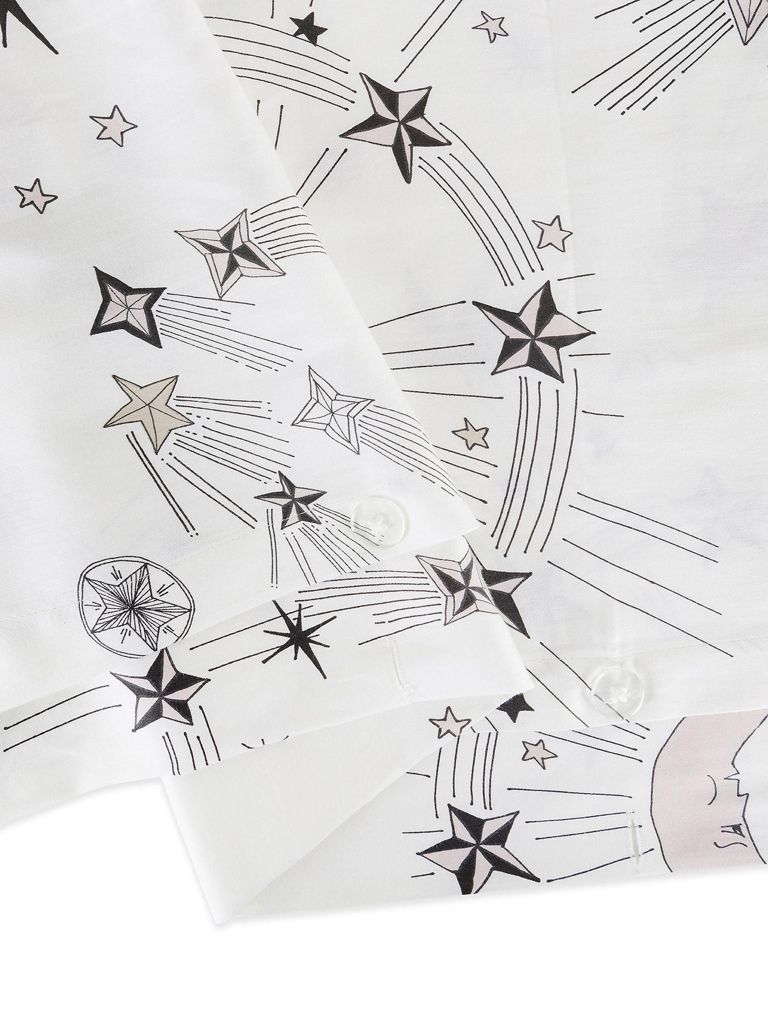 Copripiumino raso di cotone fantasia sole e luna, Bianco, large image number 2