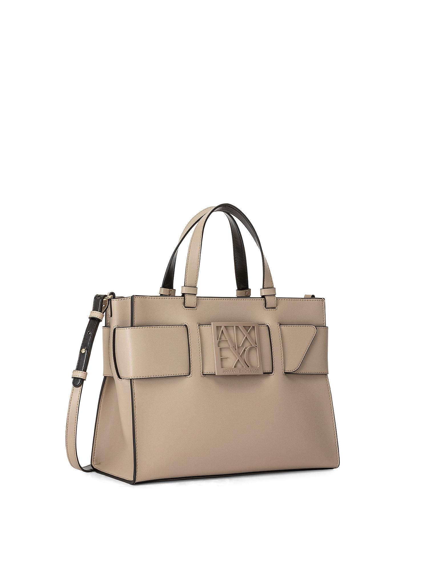 Tote bag grande con doppi manici e tracolla, Marrone, large image number 1