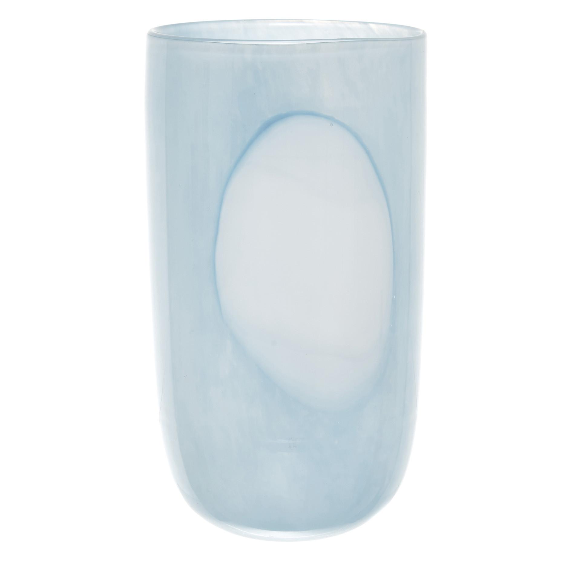 Vaso vetro colorato in pasta cerchio, Azzurro, large image number 0