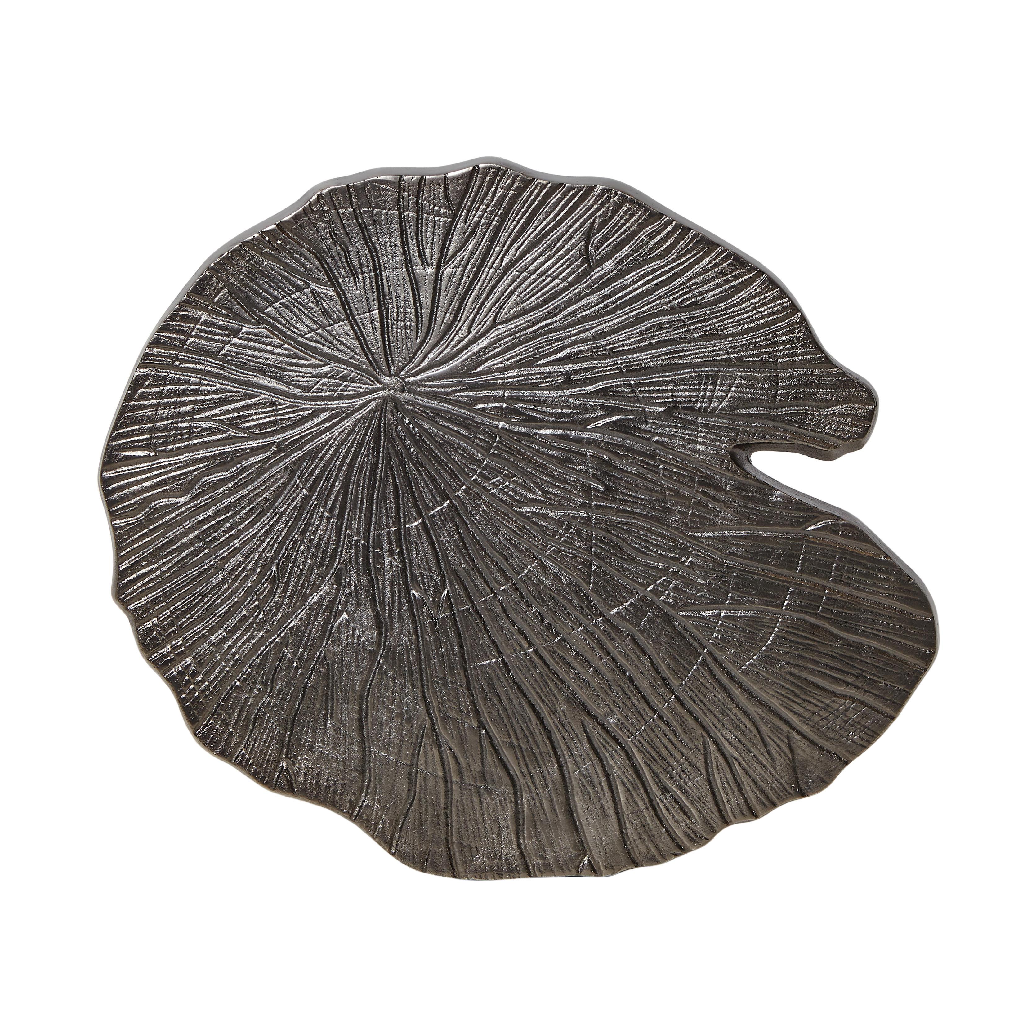 Tavolino in alluminio a foglia Leaf, Grigio argento, large image number 1