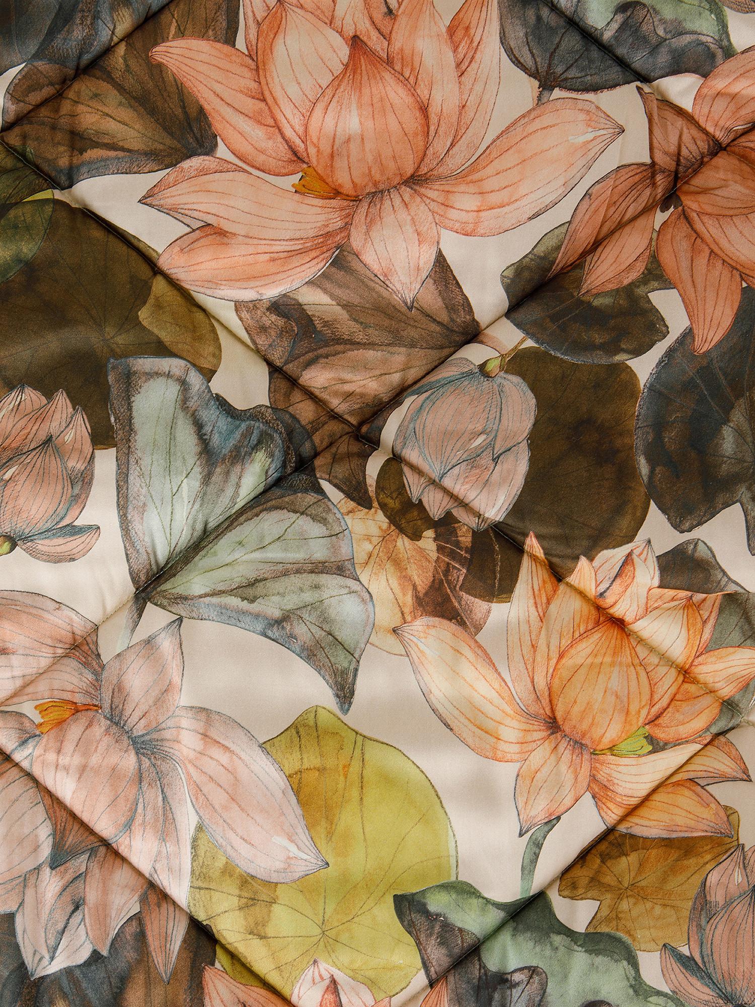 Trapunta percalle di cotone fantasia ninfea, Rosa, large image number 1