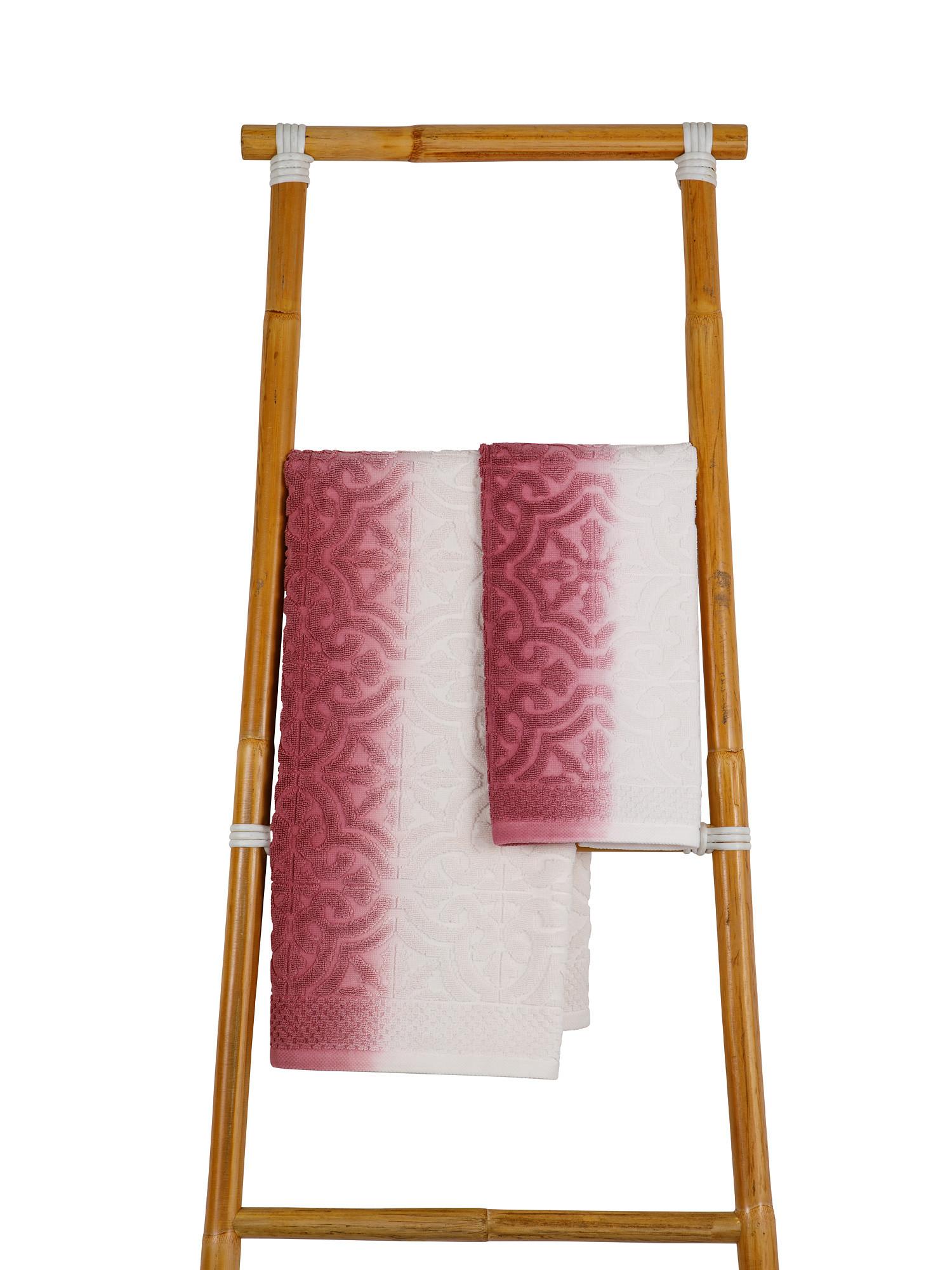 Asciugamano spugna di cotone dip dye, Rosa, large image number 0