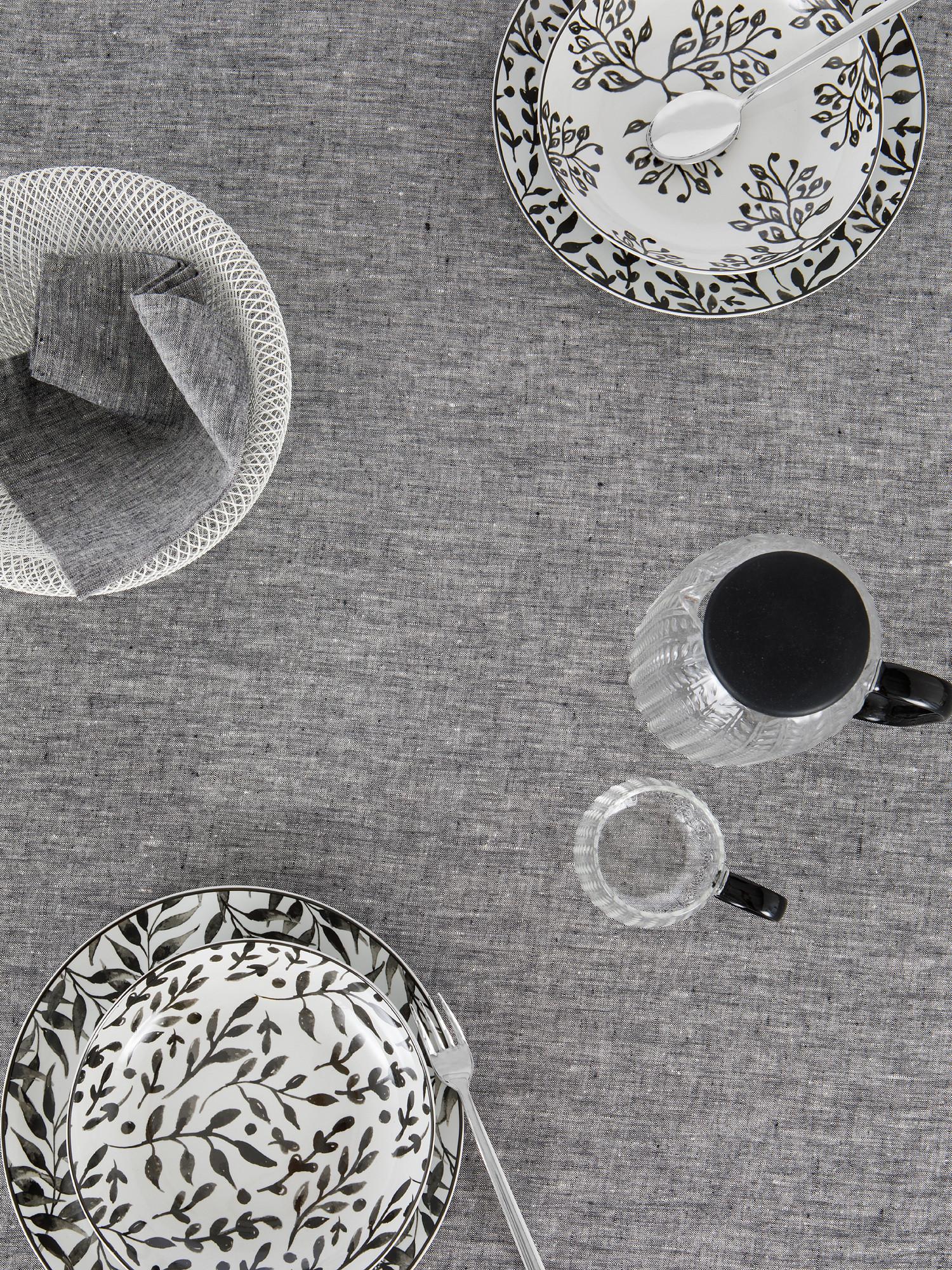 Tovaglia puro lino lavato tinta unita, Grigio, large image number 2