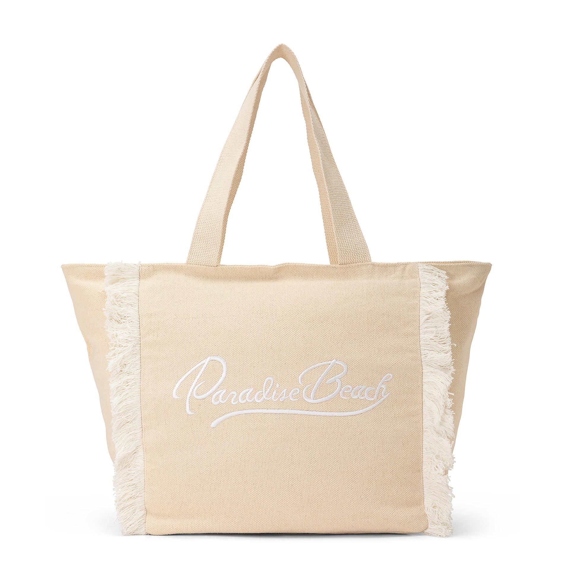 Shopper in canvas di cotone con ricamo, Beige, large image number 0