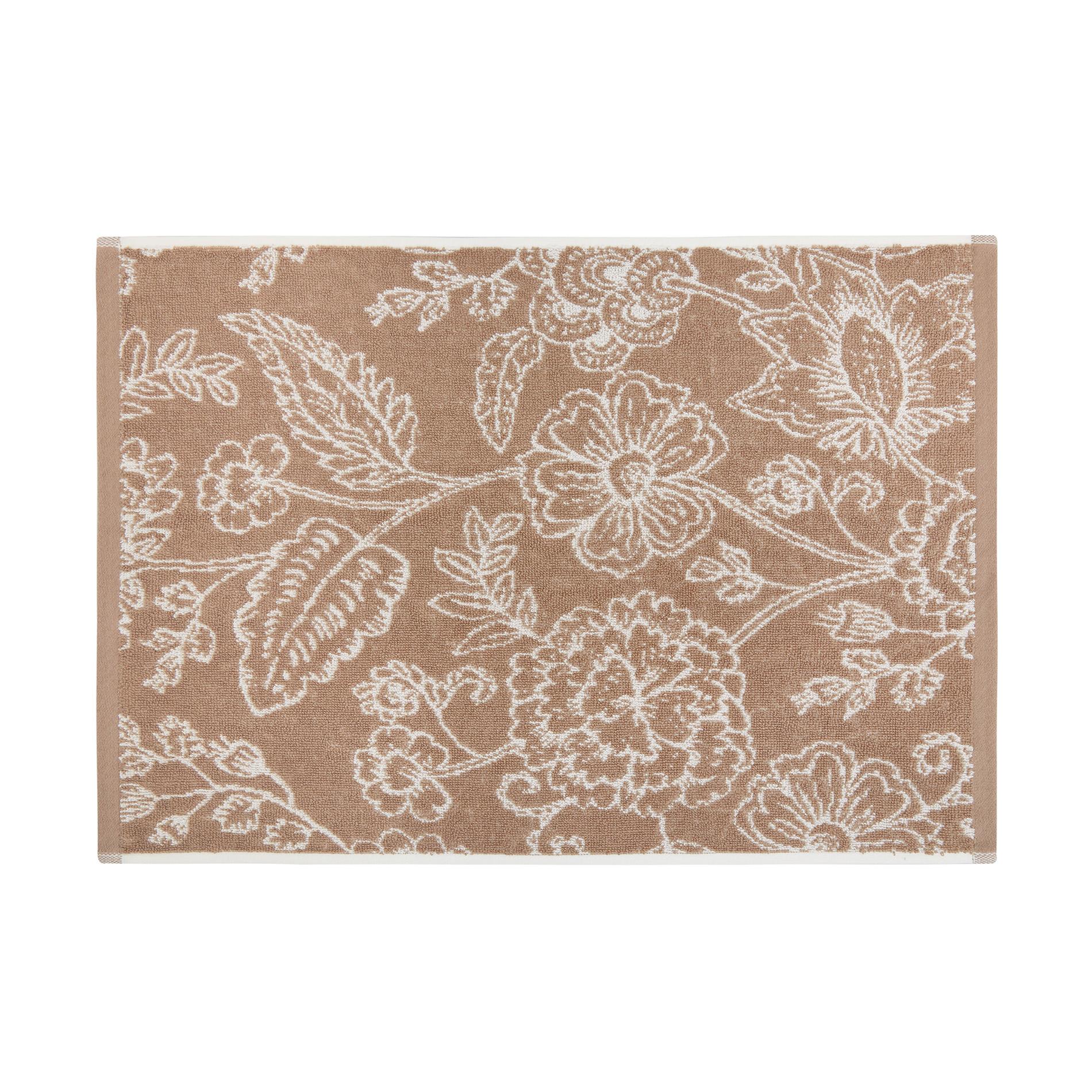 Asciugamano spugna di cotone fantasia floreale, Beige, large image number 2