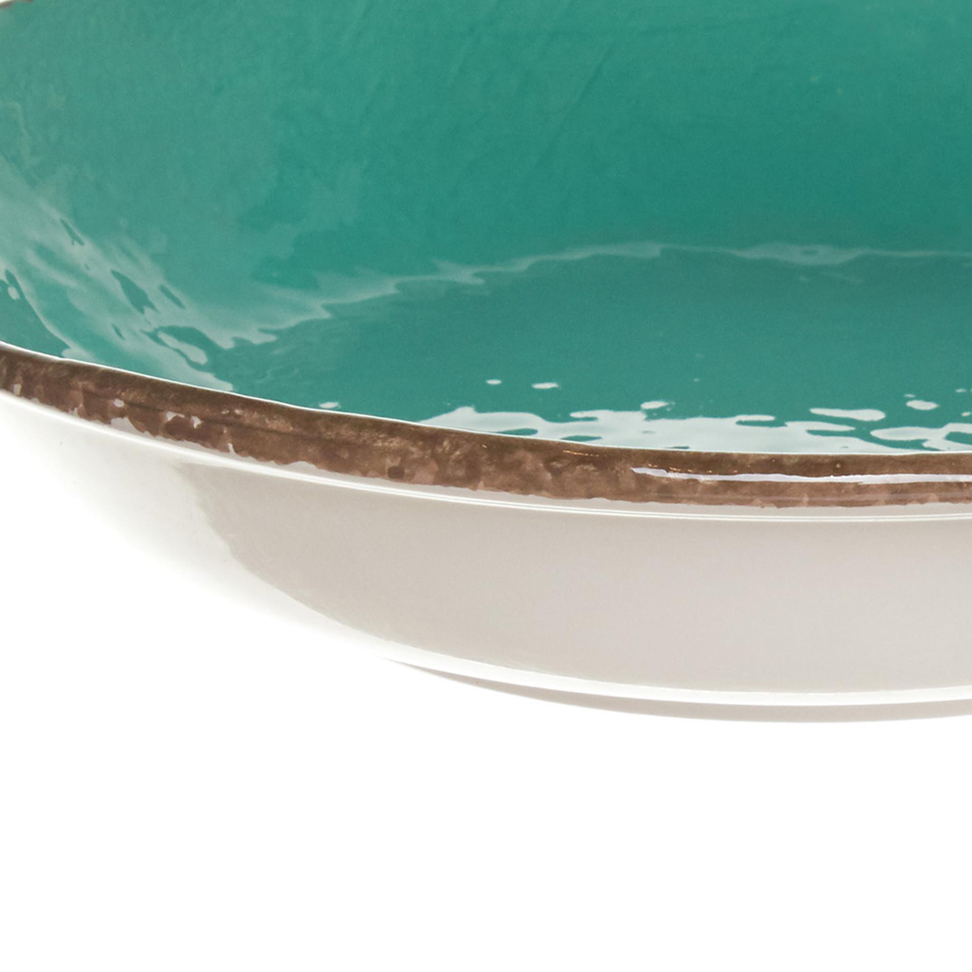 Piatto fondo ceramica artigianale Preta, Verde acqua, large image number 2